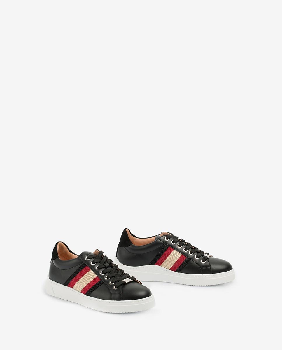 UNISA Leather sneakers stripes strap FAROLA_20_NF black/roug 2