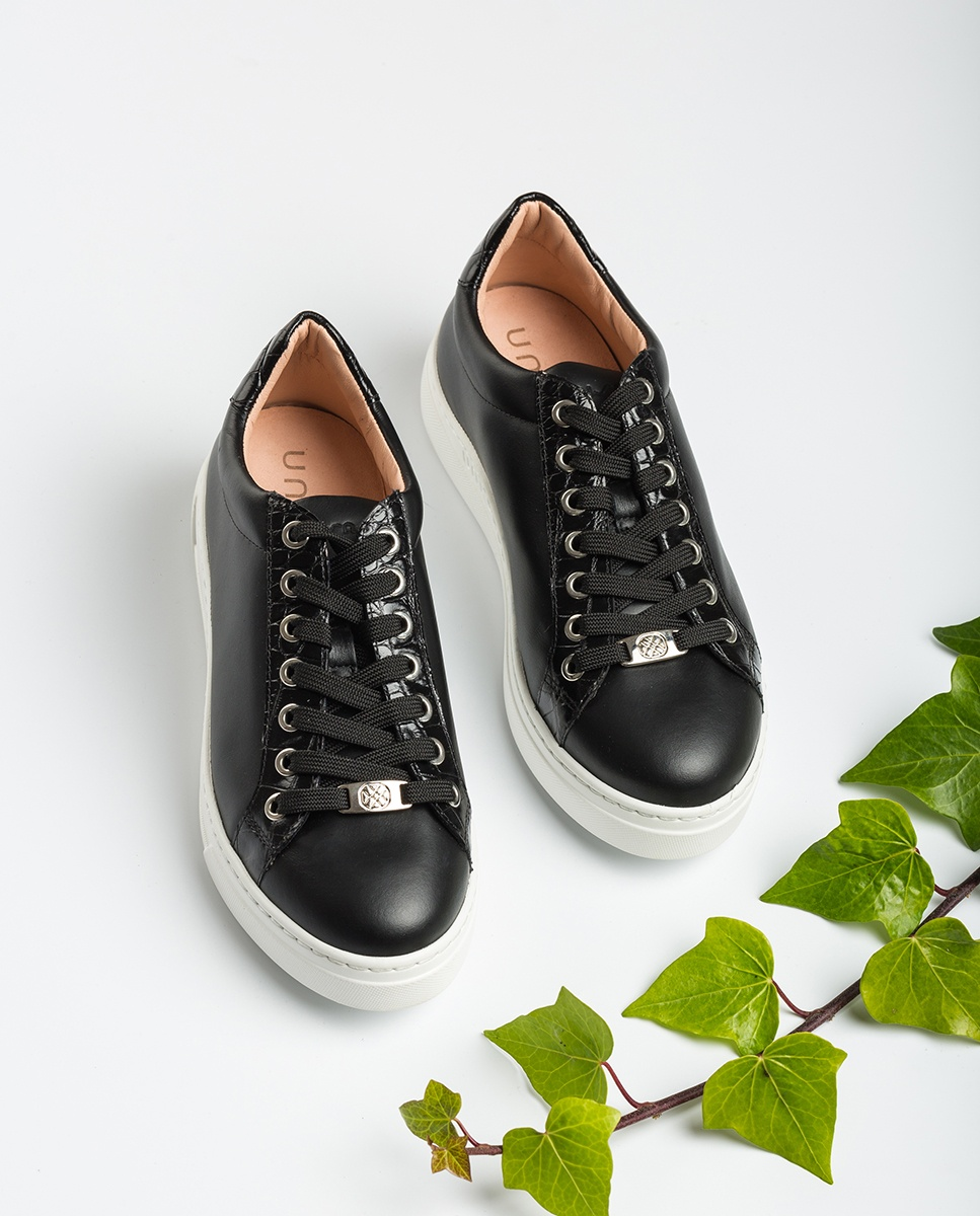 UNISA Croc effect leather contrast sneakers FRANCI_20_NF_CRW black 2