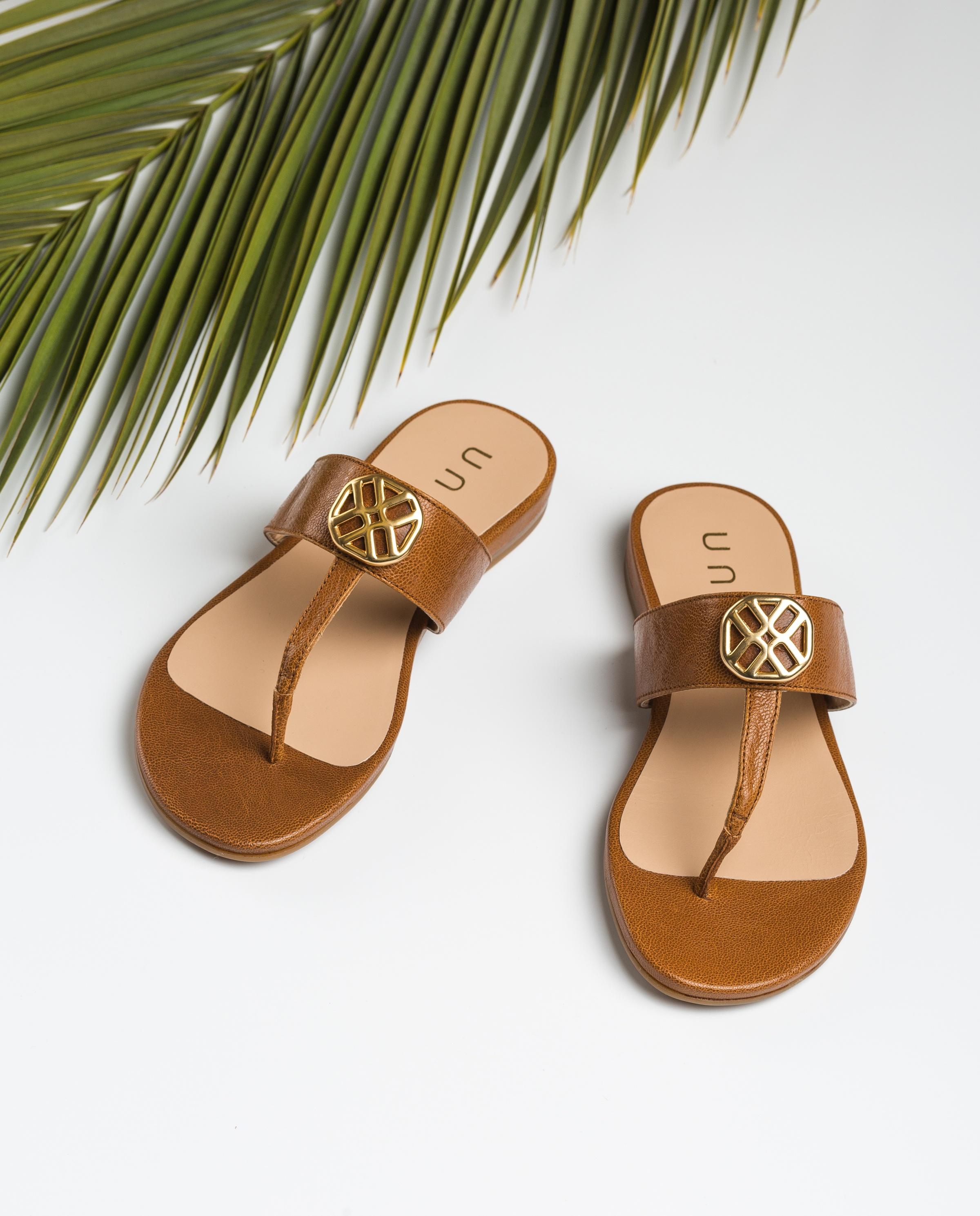 UNISA Monogram brown thong sandals CUCHI_GCR saddle 2