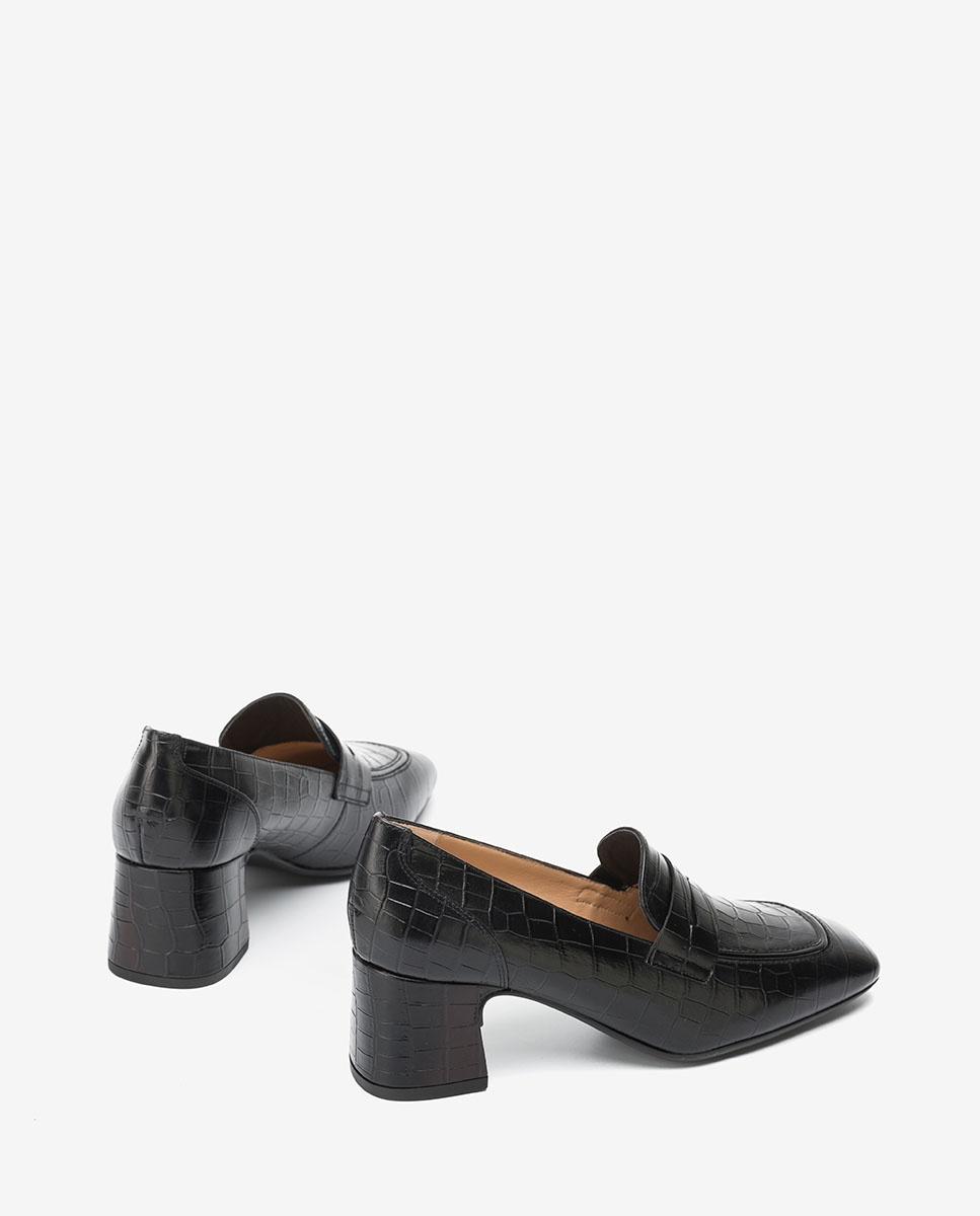 UNISA Black croc effect heeled loafers MAJASIN_LAU black 2