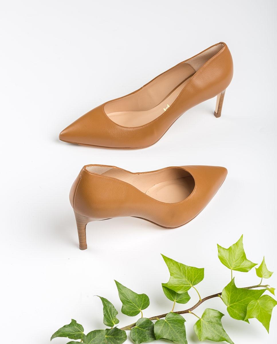 UNISA Leather pumps wood effect thin heel LANUS_NA bisquit 2