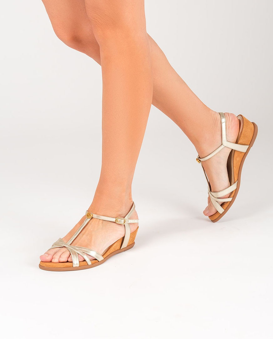UNISA Monogram golden sandals BINAR_LMT platino 2