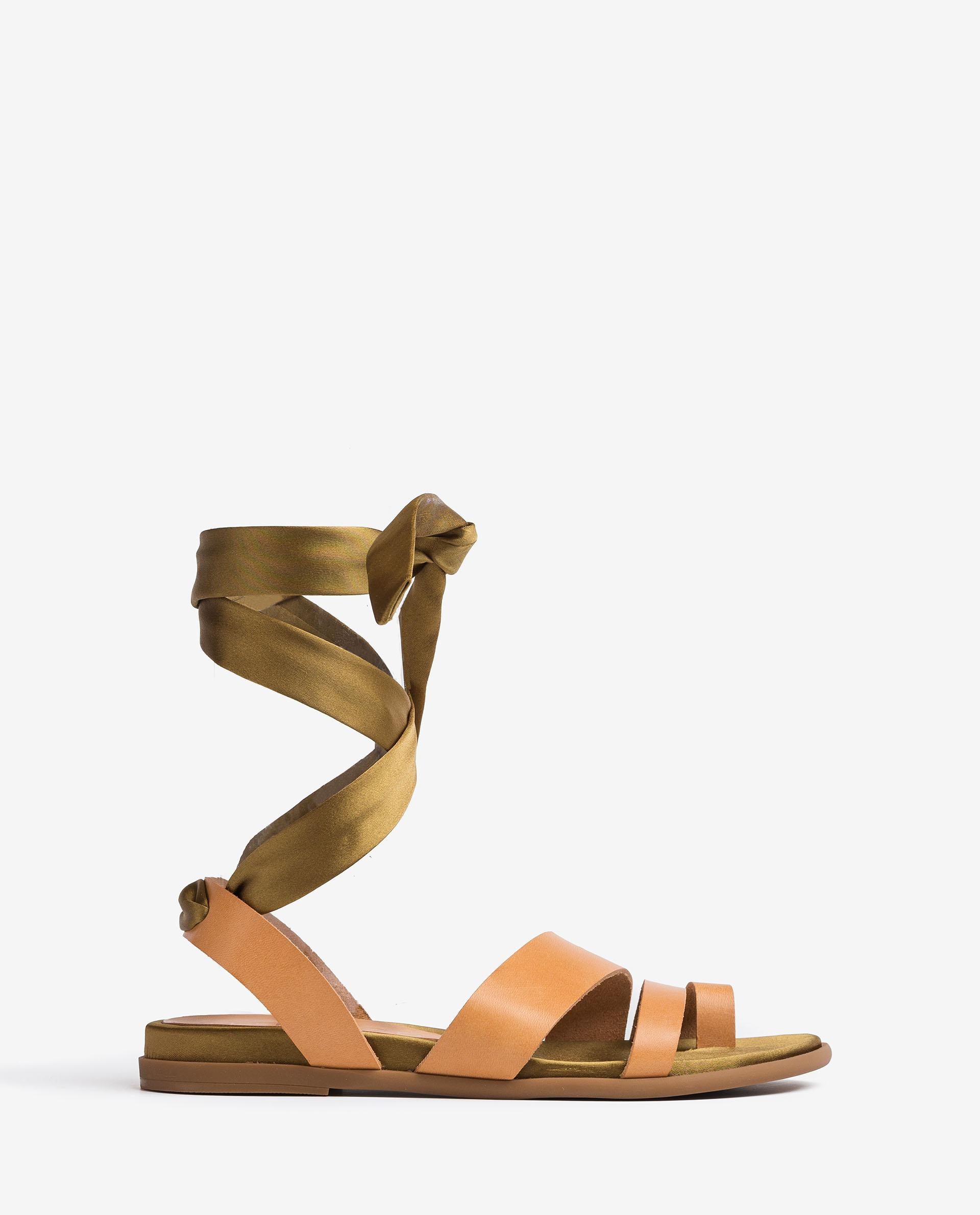 UNISA Flat sandals with ankle lacing knot CARAVI_RAN 2