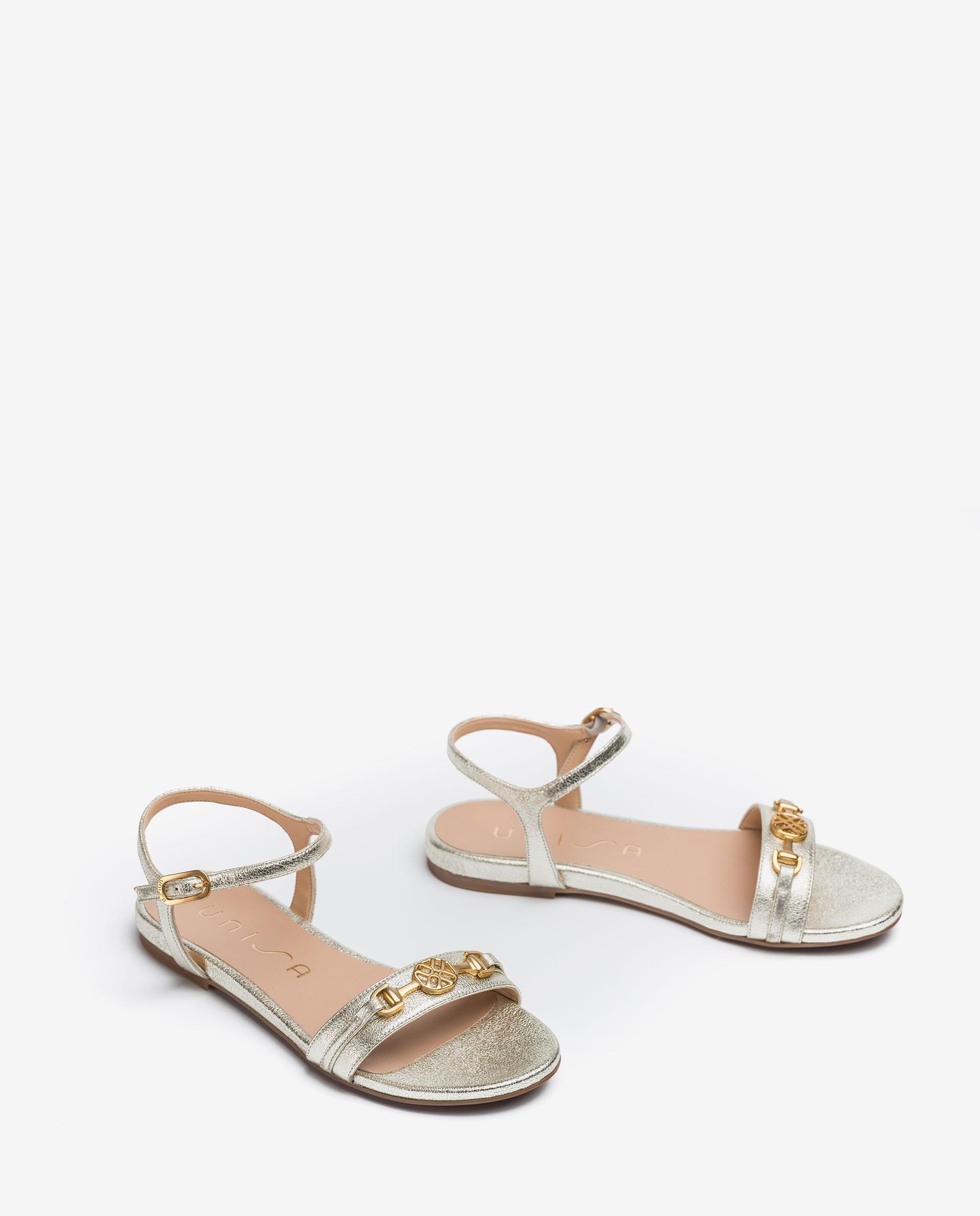 UNISA Shiny effect leather flat sandals CARIMO_SE 2