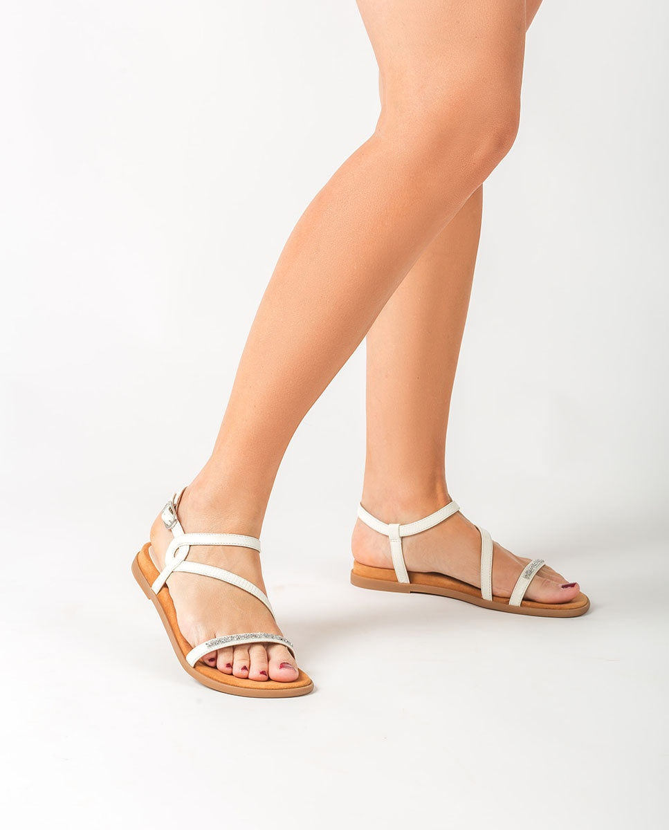 UNISA Flat Swarovski sandals CLARIS_LI  ivory 2