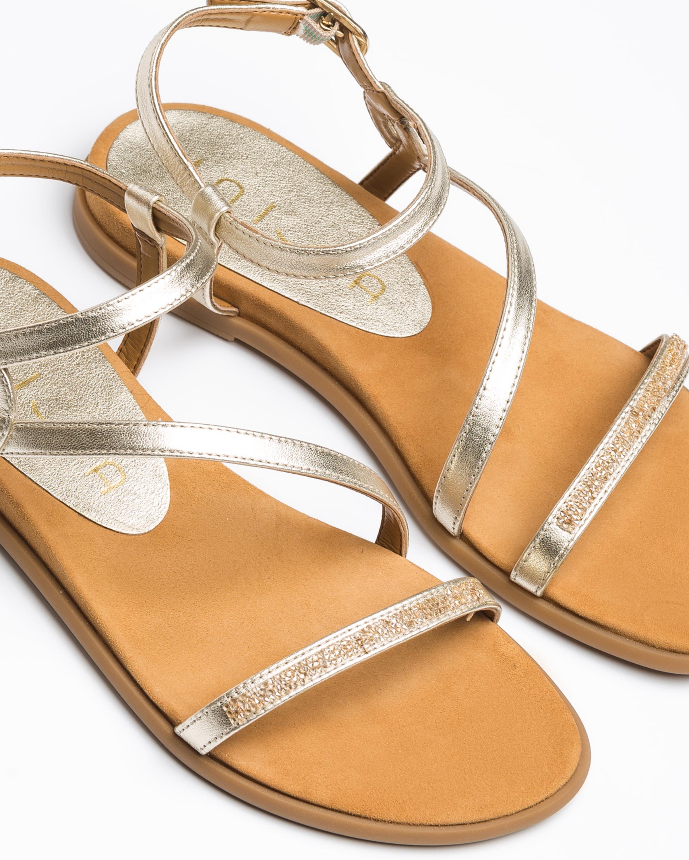 UNISA Golden flat Swarovski sandals CLARIS_LMT platino 2