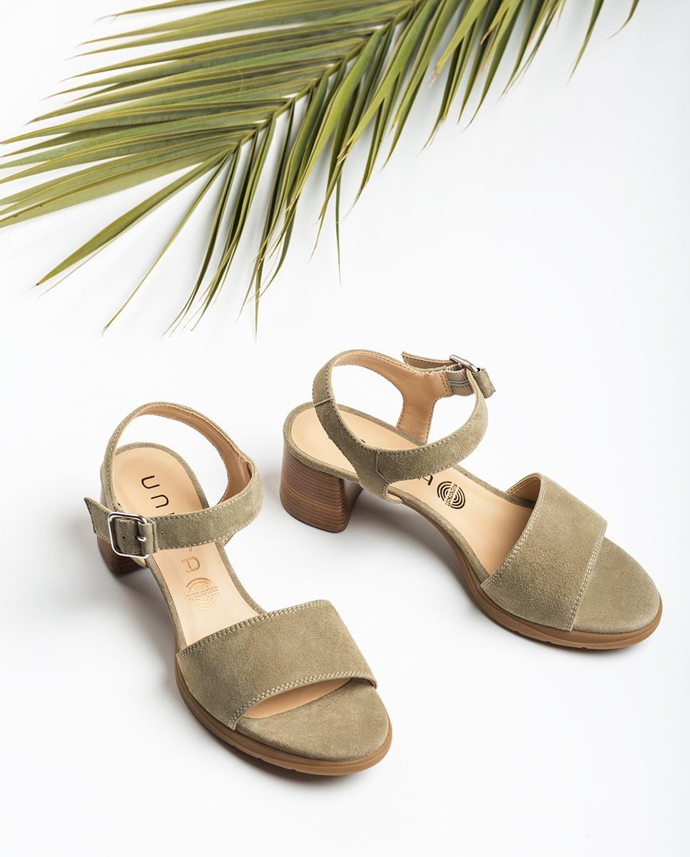 UNISA Green kid suede sandals wood effect heel GODOY_KS lauro 2