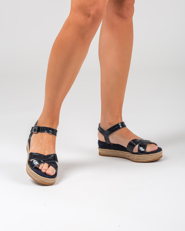 UNISA Croc effect leather wedge sandals GRANADA_CRW_KS ocean 2