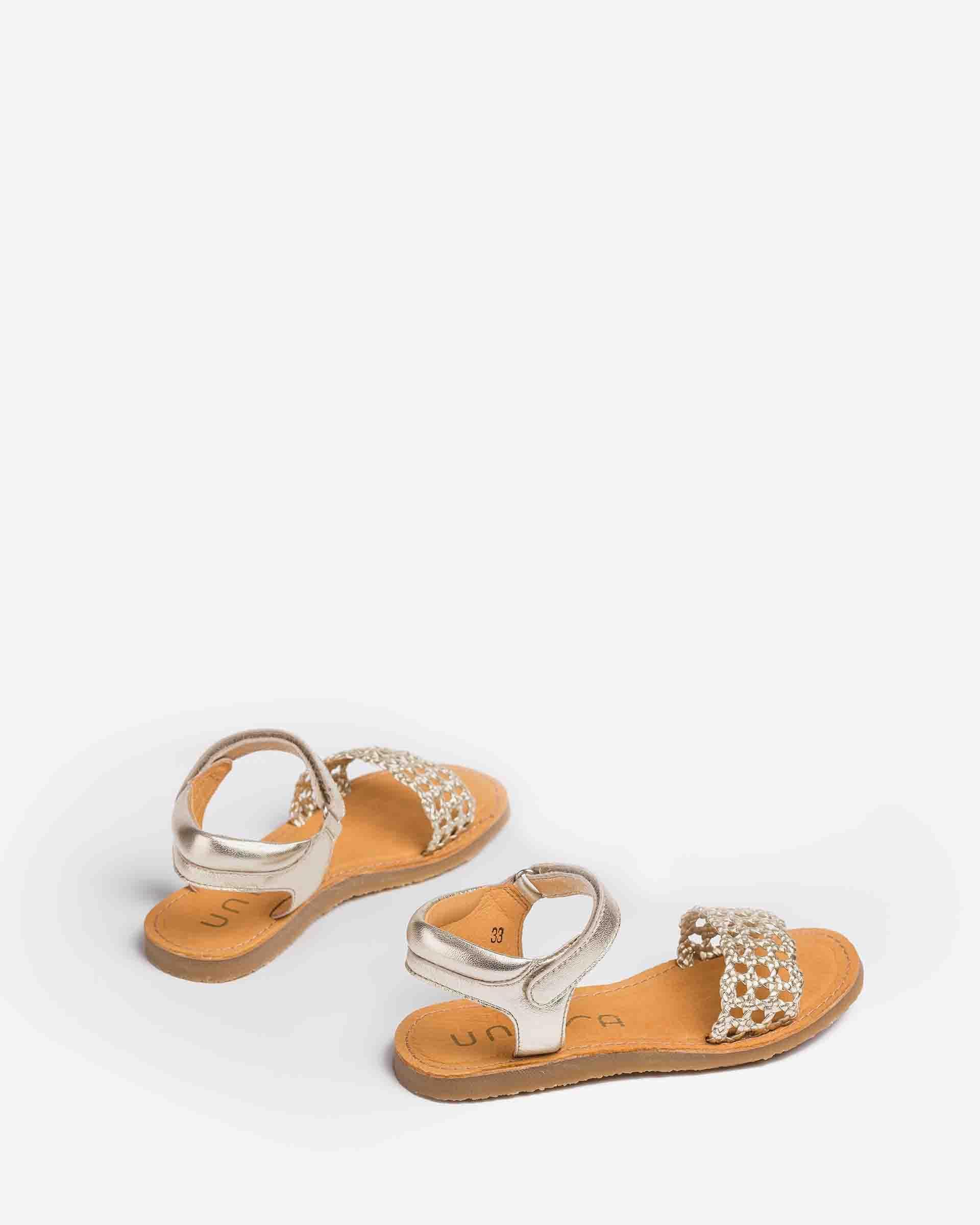UNISA Little girl´s braided sandals metal effect GREMY_LMT 2