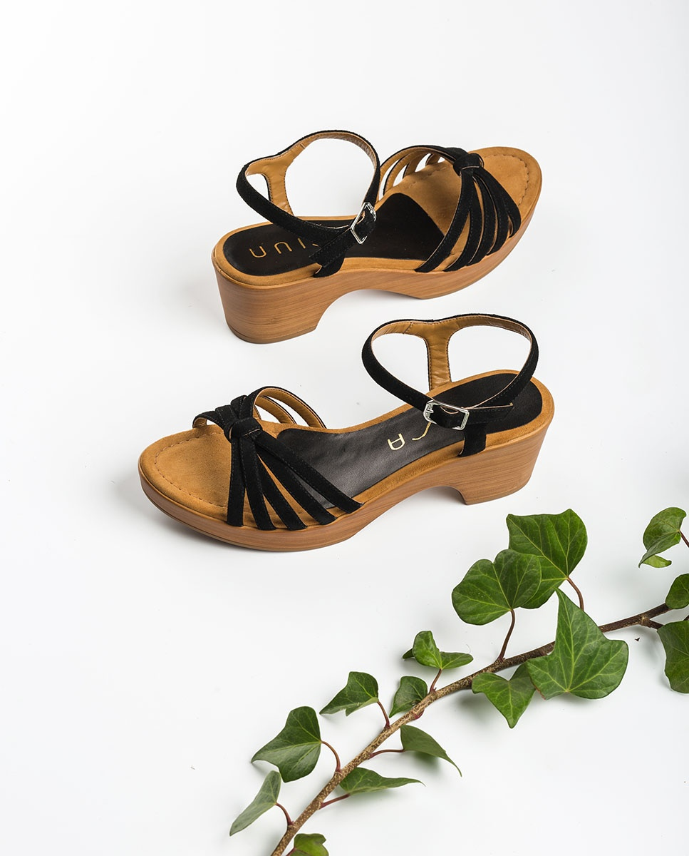 UNISA Kid suede multistrap sandals IMMA_KS black 2