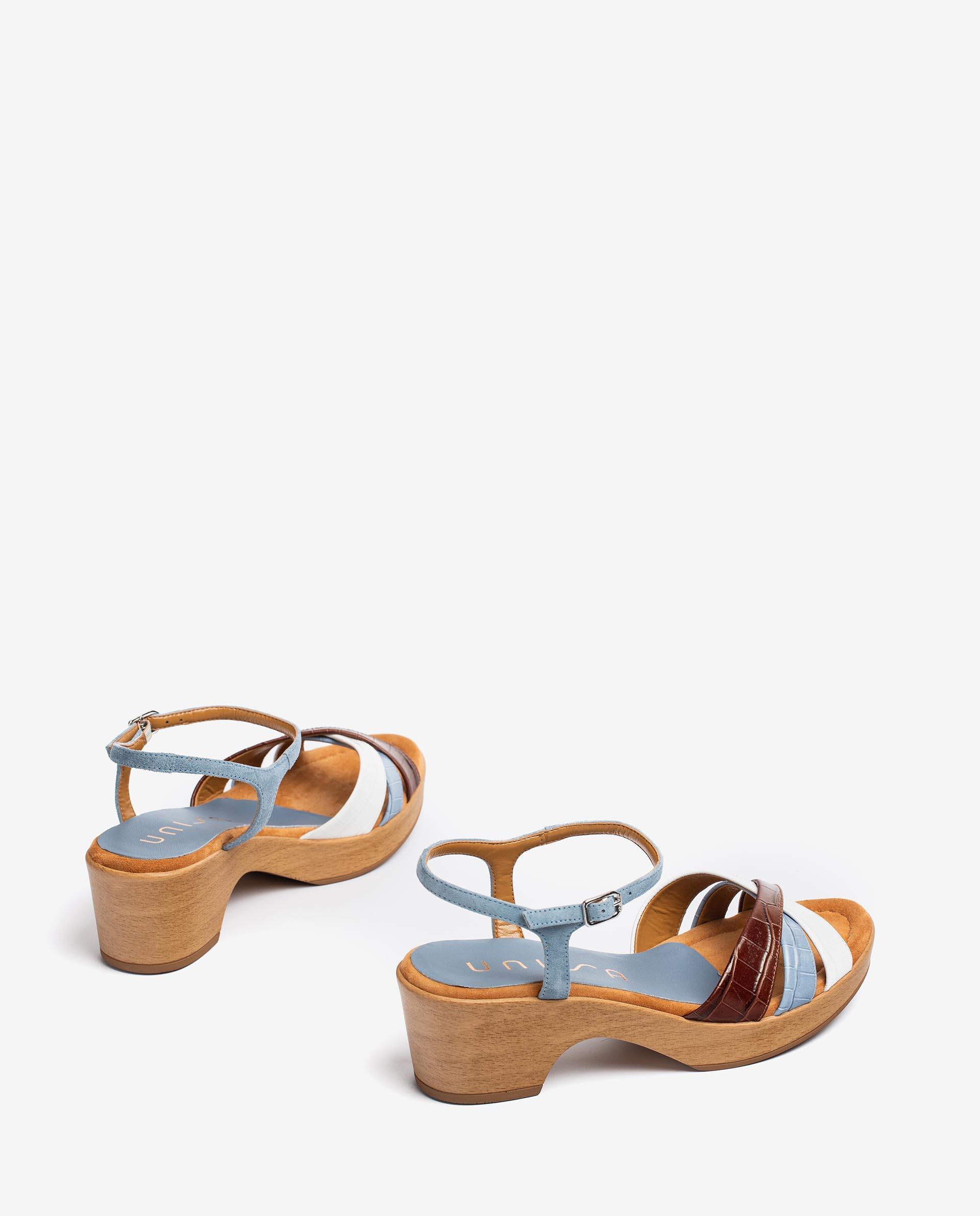 UNISA Croc effect leather and kid suede contrast sandals INQUI_LAU_KS 2