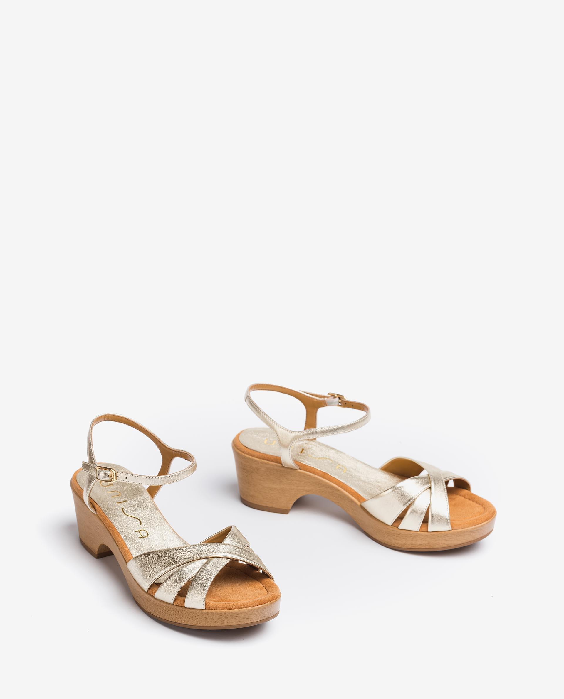 UNISA Metal effect leather strappy sandals INQUI_LMT 2
