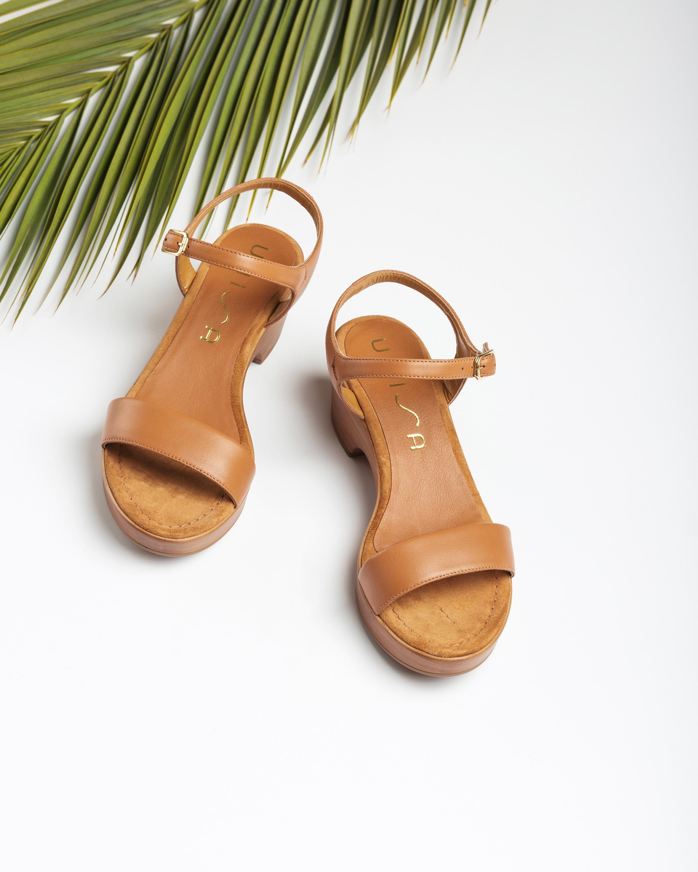 UNISA Leather block sandals IRITA_20_NA bisquit 2
