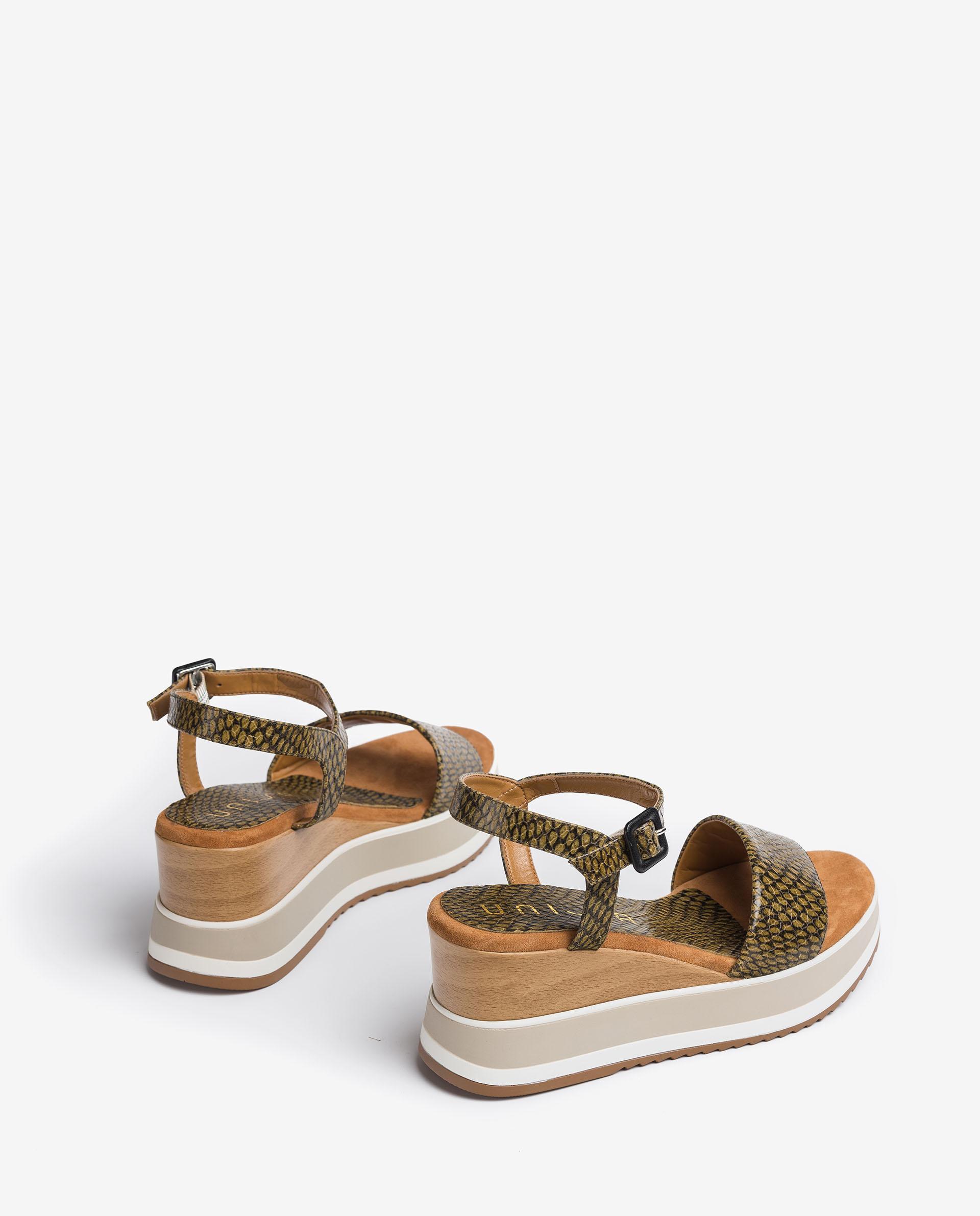 UNISA Snake effect leather wedge sandals KOLLA_MA 2