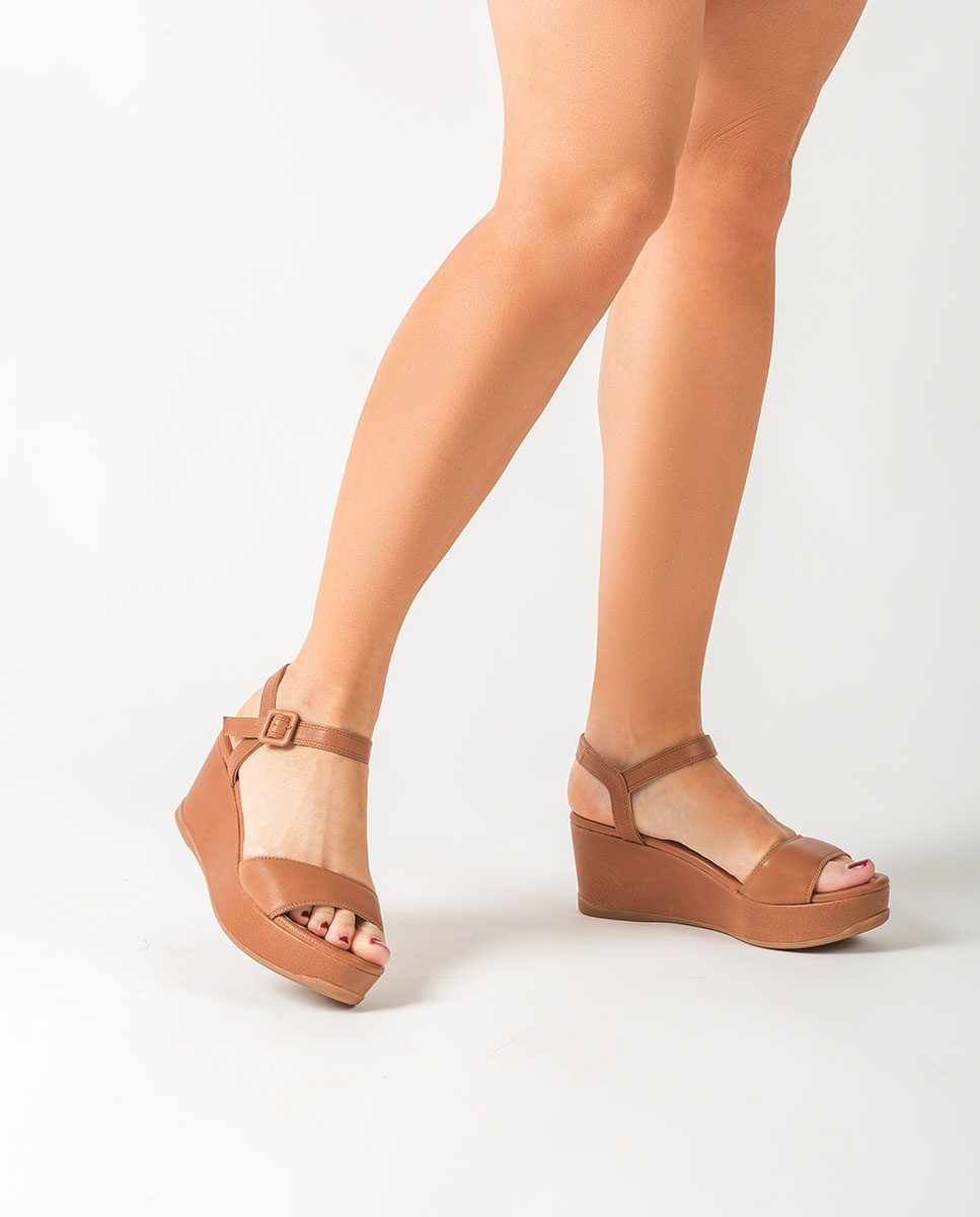 UNISA Leather wedge sandals KOMBAS_STY  bisquit 2