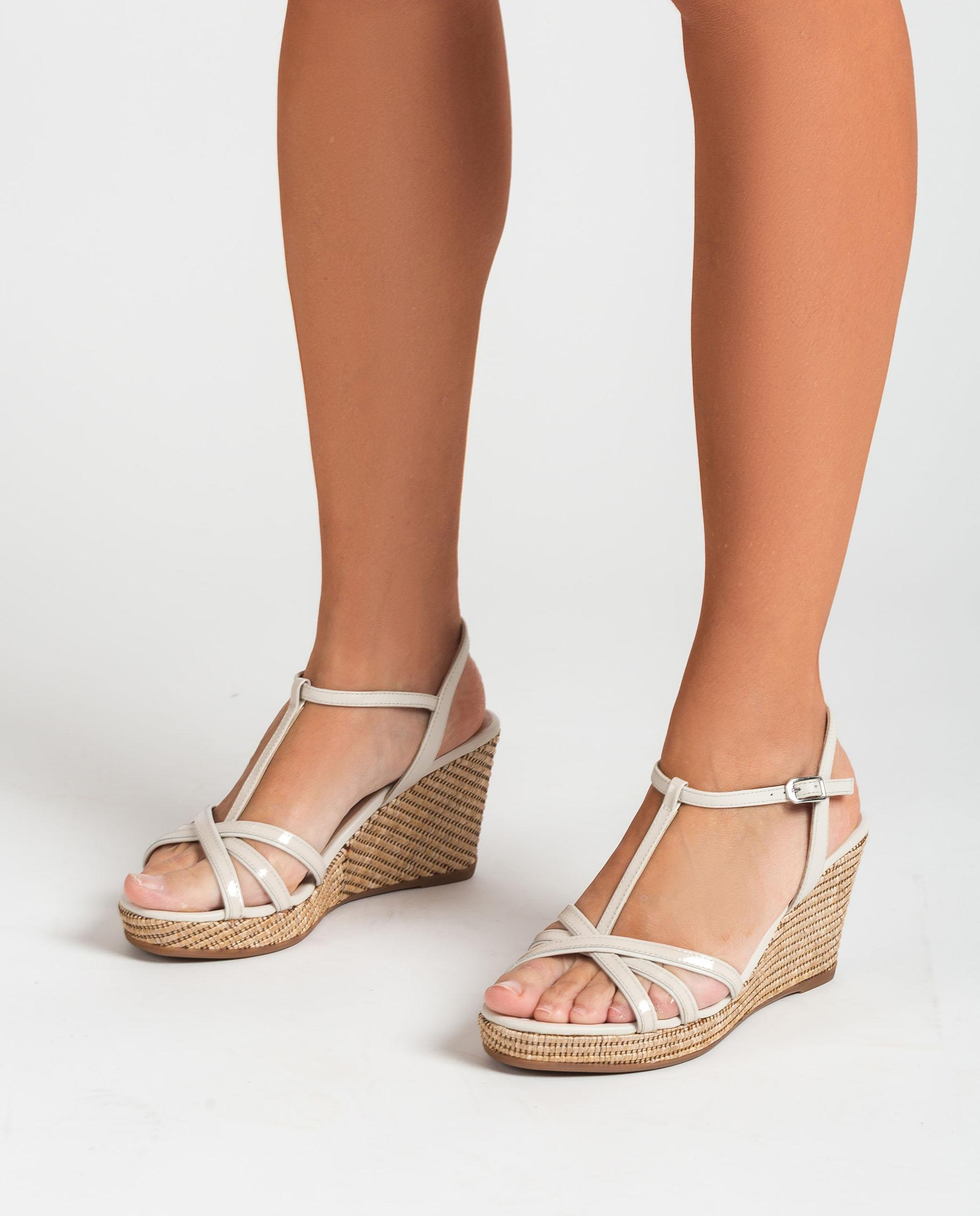 UNISA Wedge patent leather T-strap sandals LLINAR_21_PA_NA 2