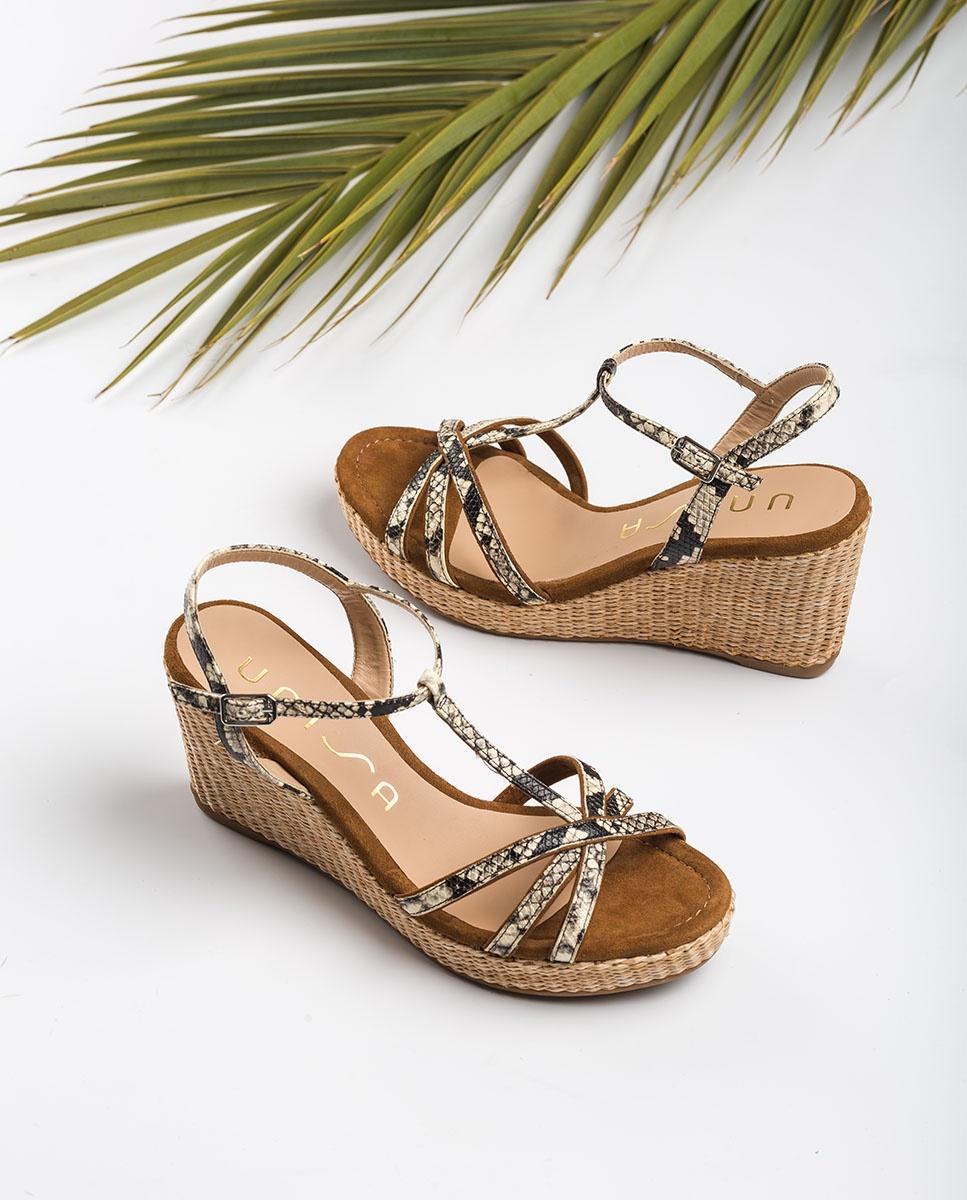 UNISA Wedge sandals snake straps LLINAR_VIP nacar/arga 2