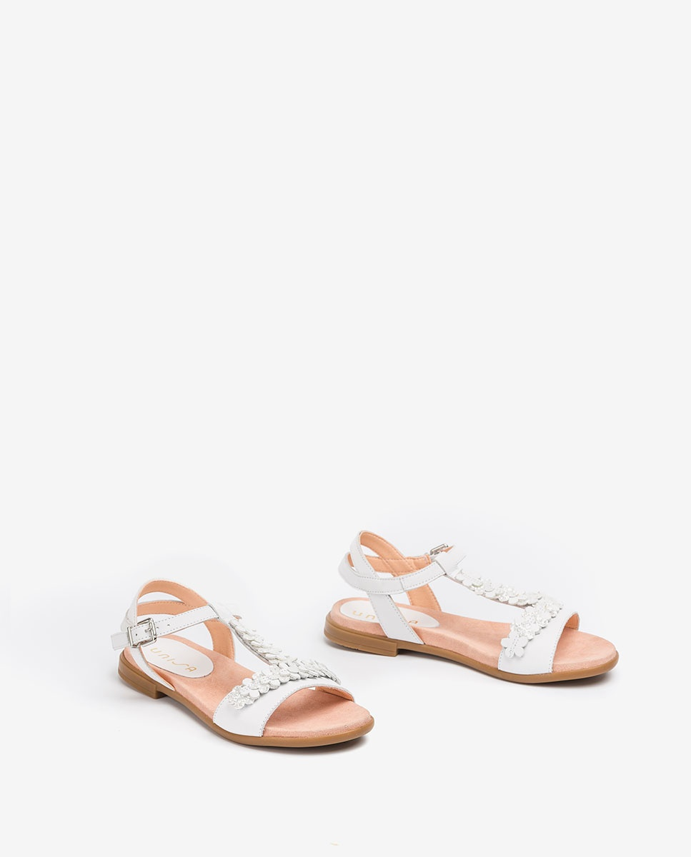 UNISA Little girl white sandals with flowers LOSAN_C_NT white 2