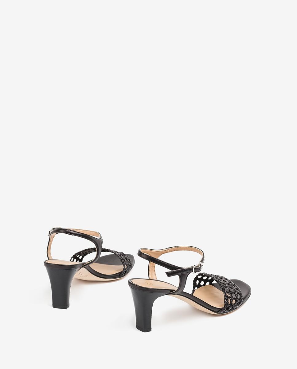 UNISA Braided macramé leather sandals MAXWEL_NA black 2