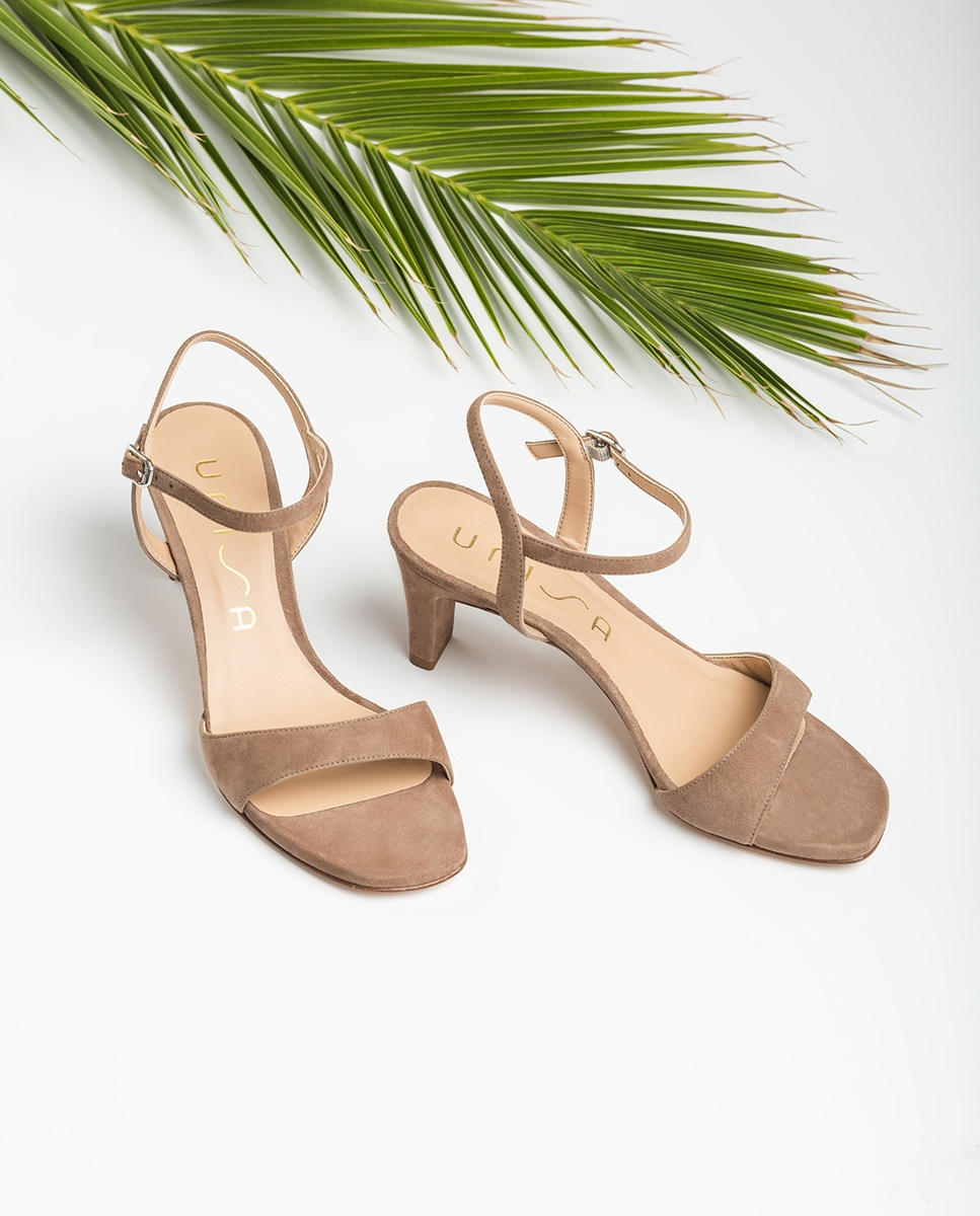 UNISA Kid suede sandals medium heel MECHI_KS funghi 2