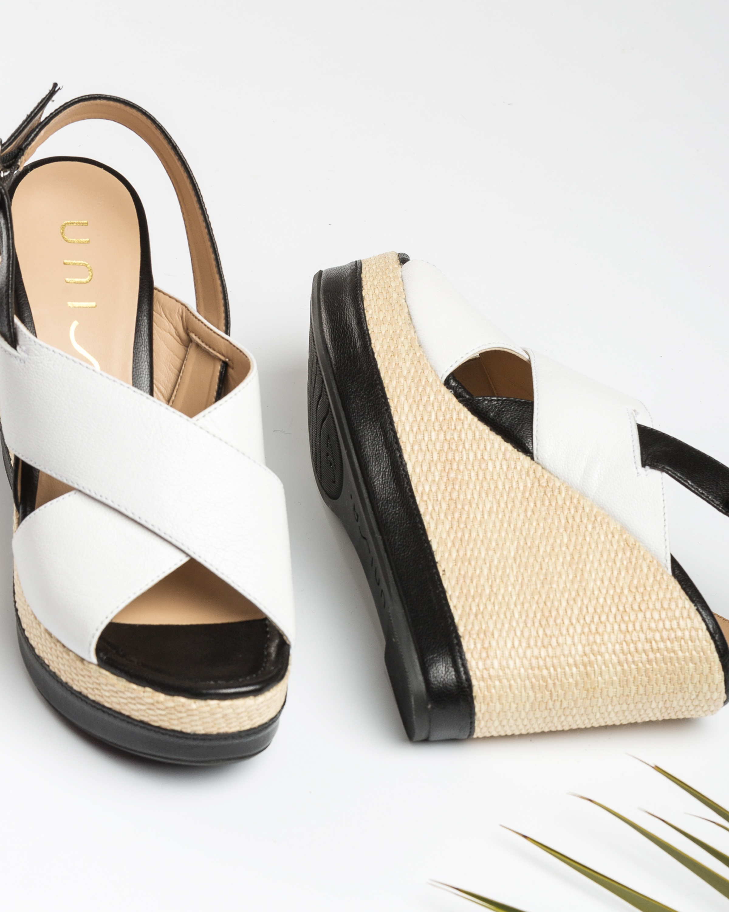 UNISA Wedge leather sandals shine contrast MIGUEL_GCR white/blk 2