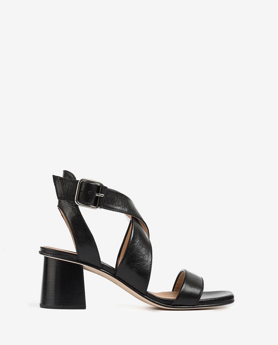UNISA Crossed instep sandals wood effect heel MINER_GCR black 2