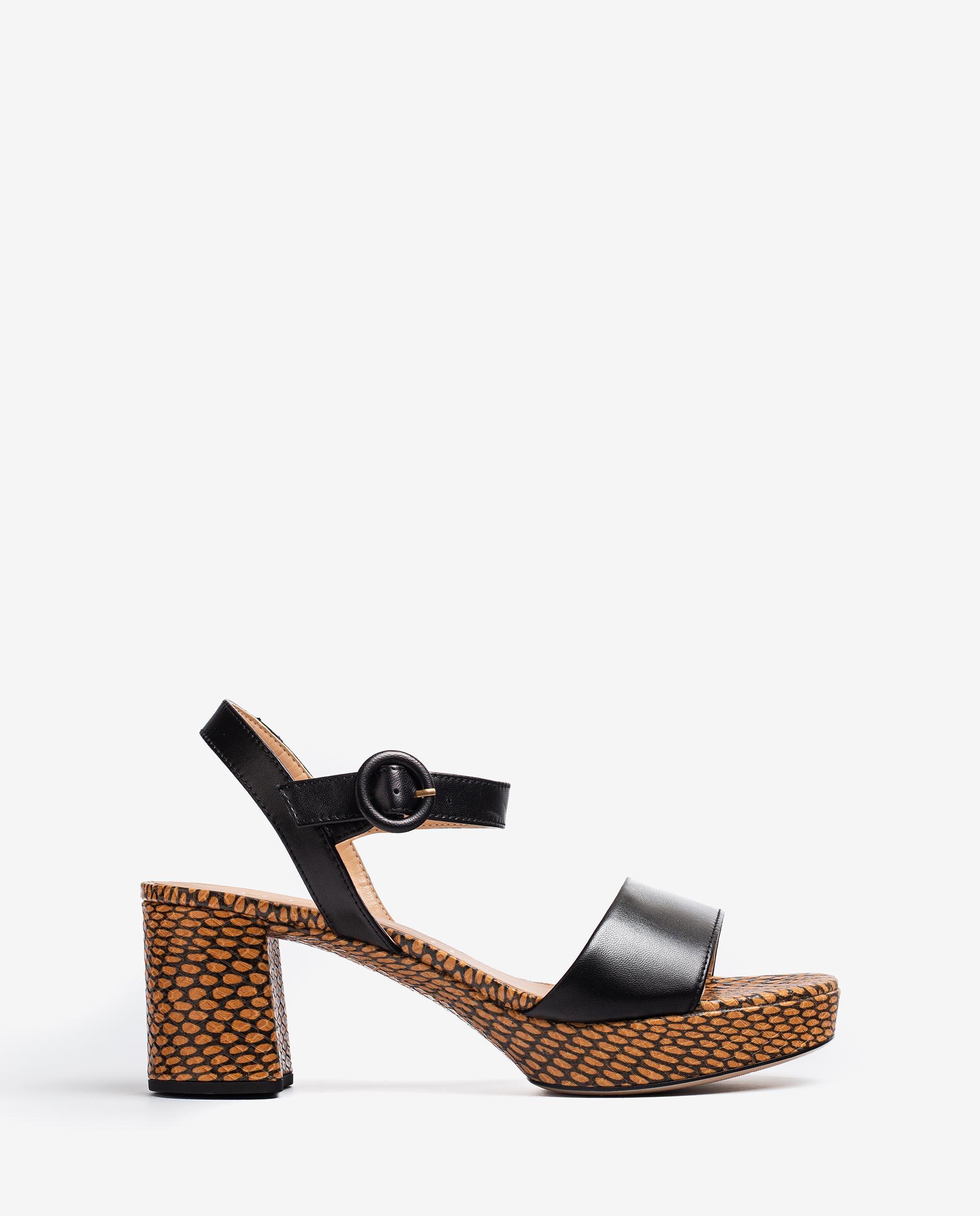 UNISA Snake effect leather sandals wide heel NENES_21_NA_MA 2