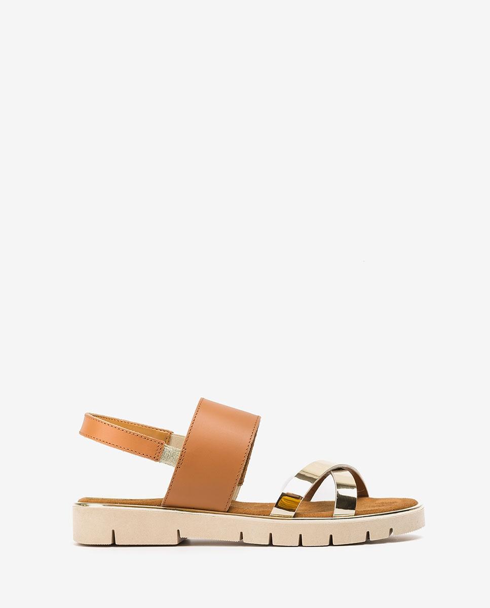 UNISA Little girl leather contrast sandals NOLES_C_SP_NF platino 2