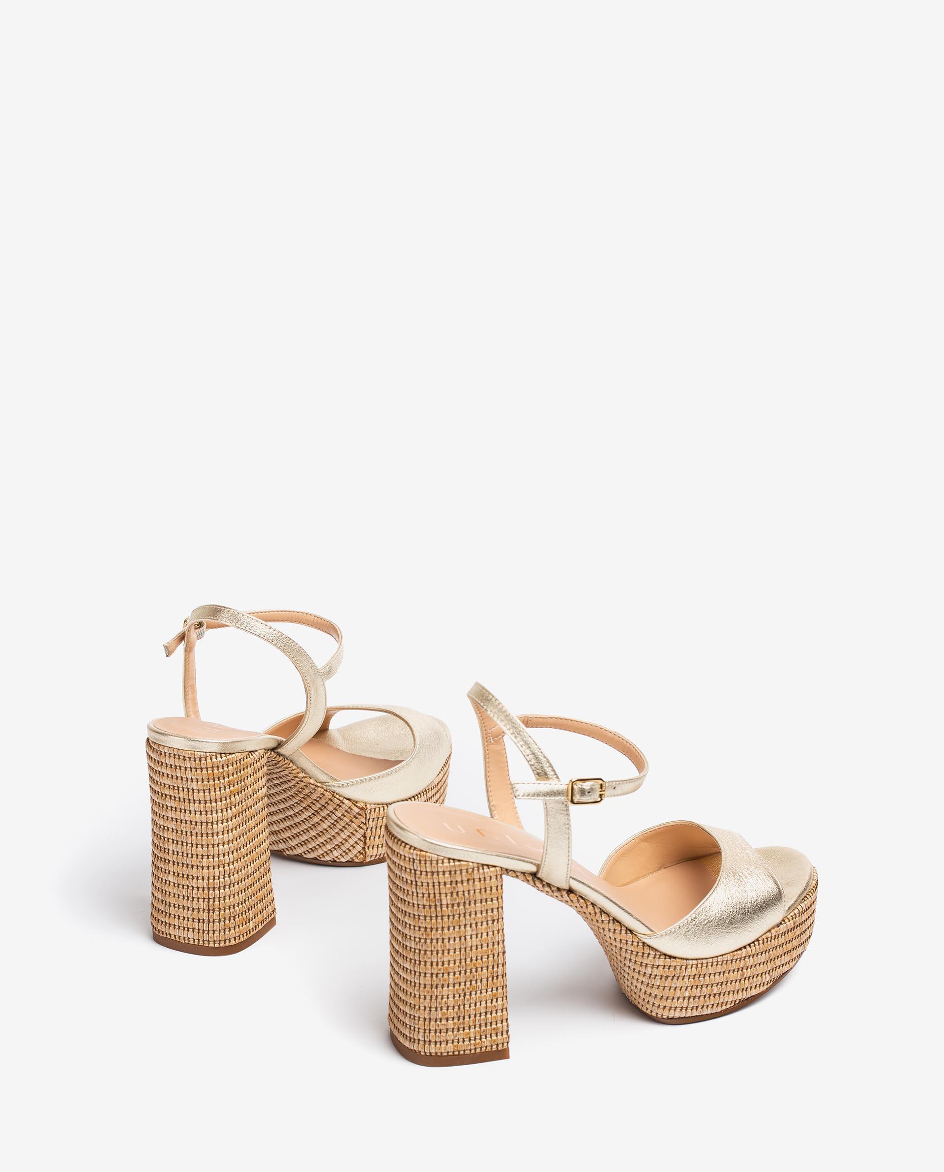 UNISA 70's style leather and raffia contrast sandals VEGARA_21_LMT_RR 2