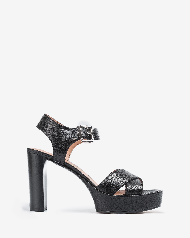 UNISA Wood effect heel leather sandals VIKEN_20_GCR black 2