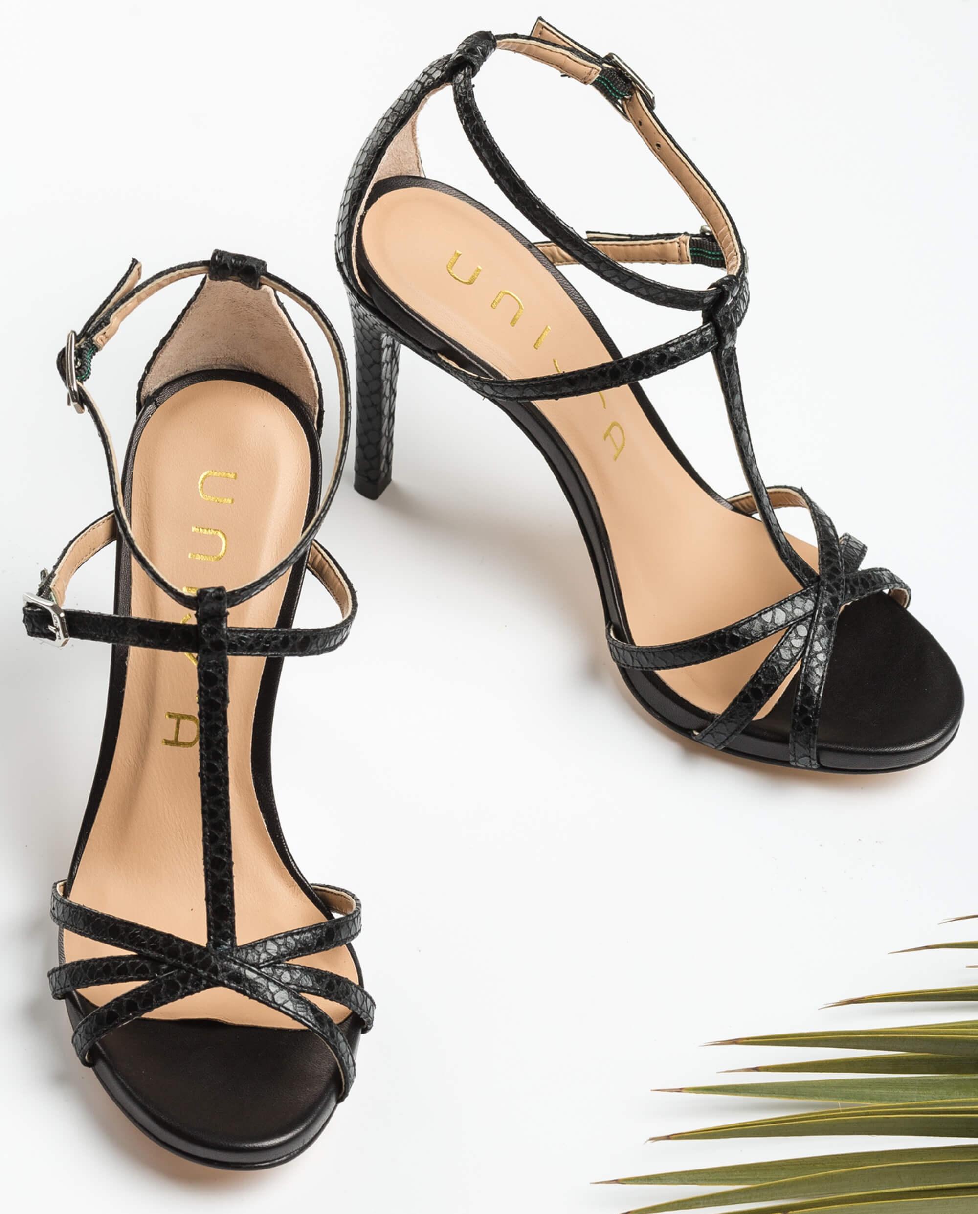 UNISA Multi straps heel sandals YASUGI_REP_NA black 2