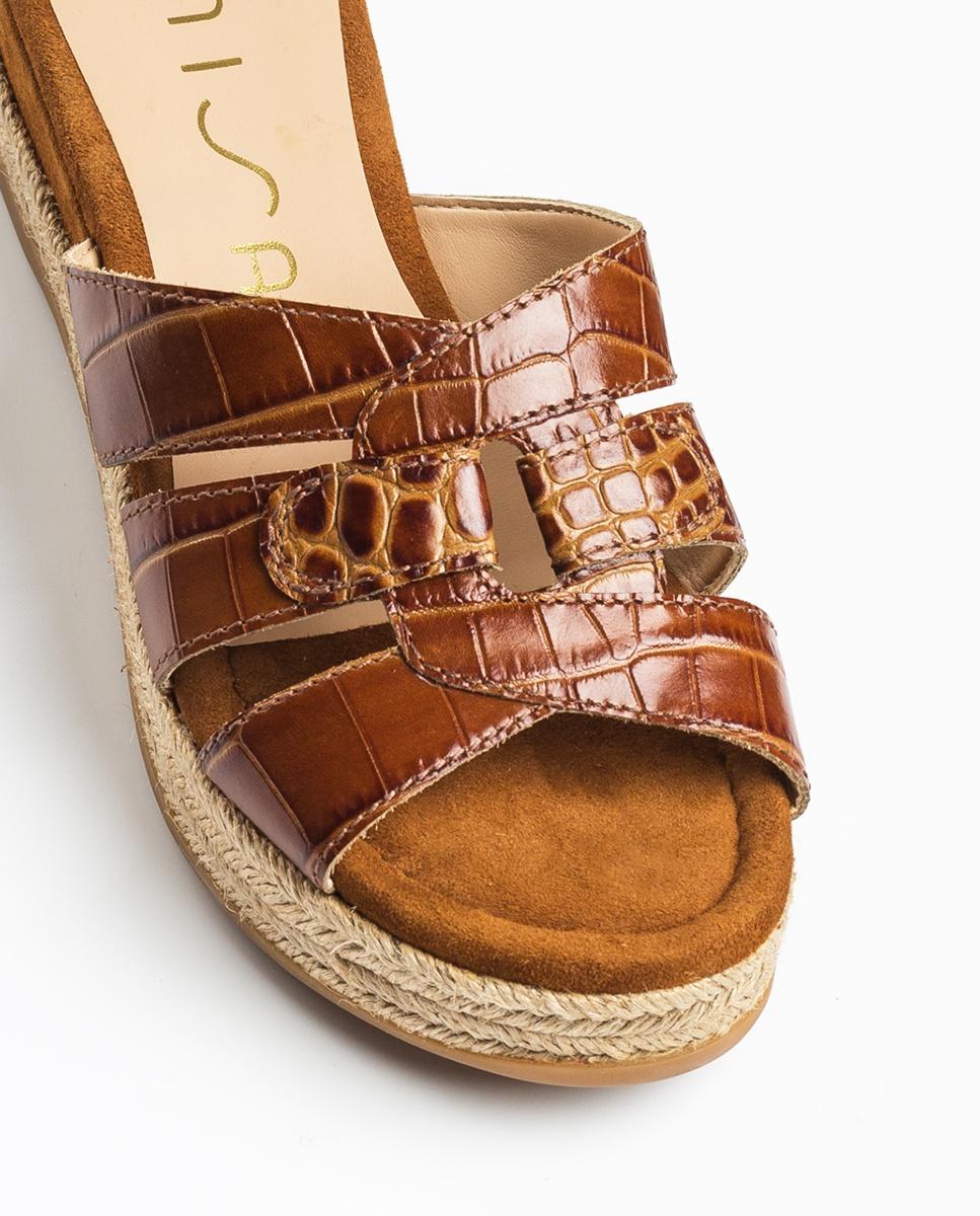 UNISA Croc effect leather mules GANDHI_CRW saddle 2