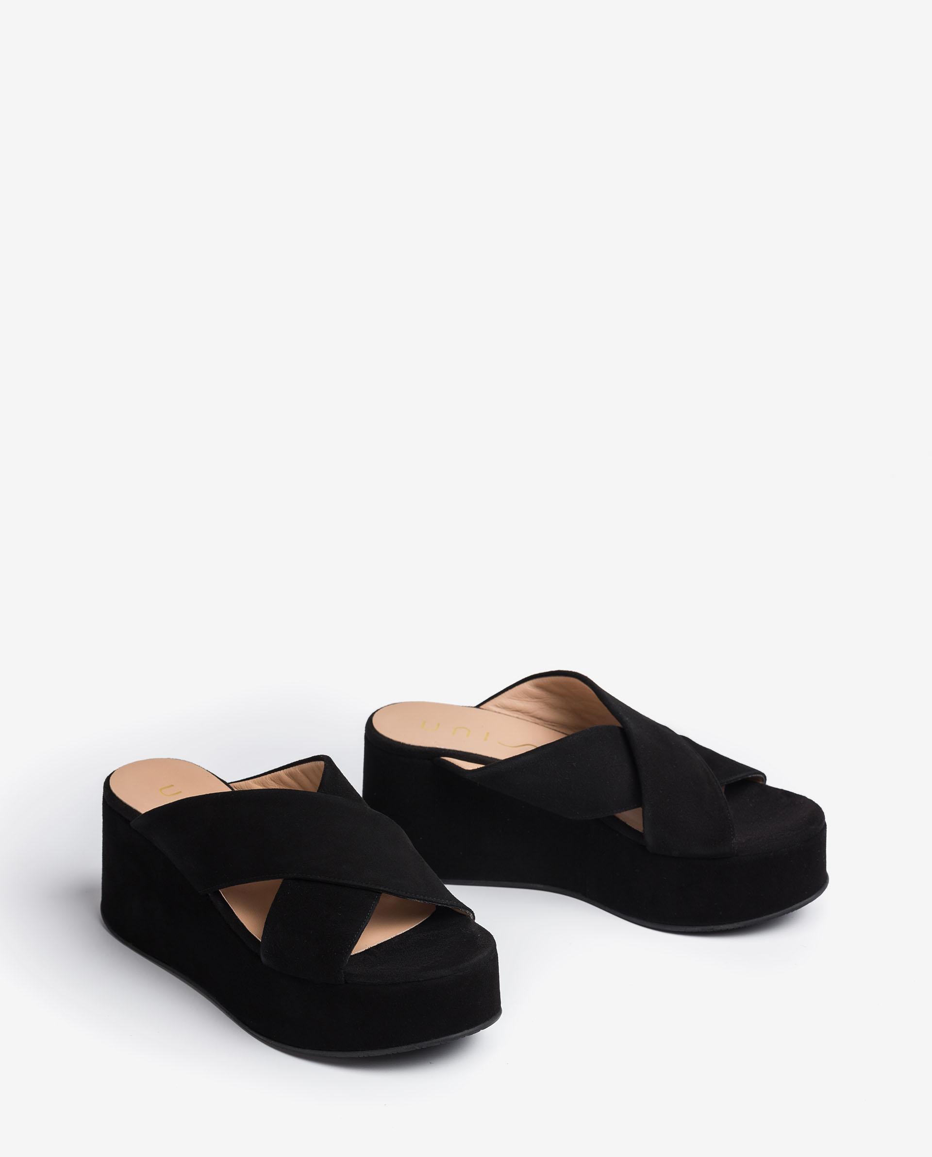 UNISA Kid suede straps sandals with wide wedge LADIN_KS 2