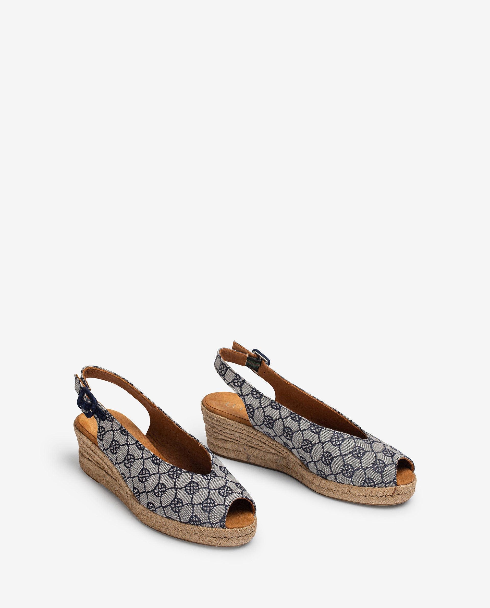 UNISA Monogram printed fabric slingback sandals CASBAS_JAC 2