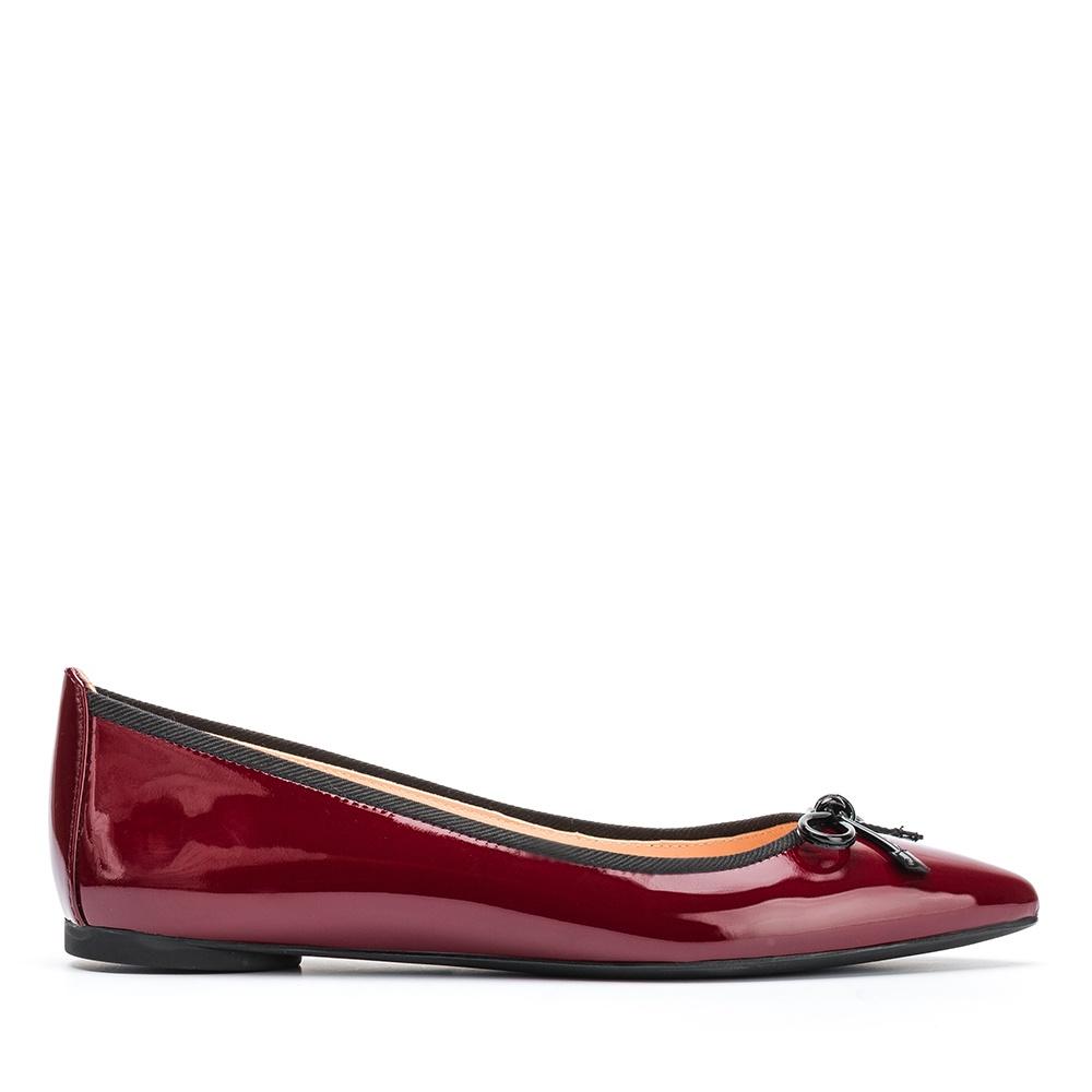 UNISA Pointy toe patent leather ballerina ARENY_F19_PA red velvet 2