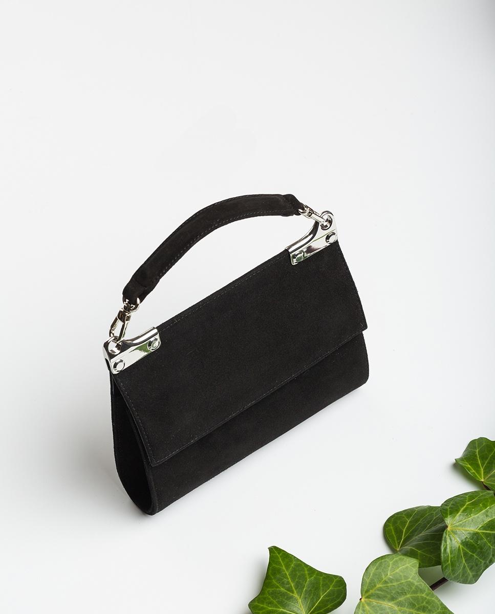 UNISA Kid suede top handle handbag ZAMAL_KS black 2