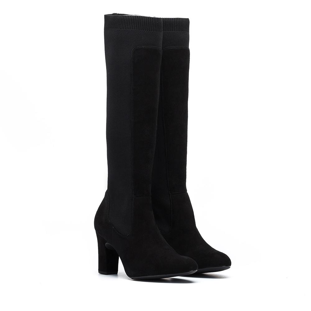 UNISA Kid suede boots with heel URAWA_KS black 2