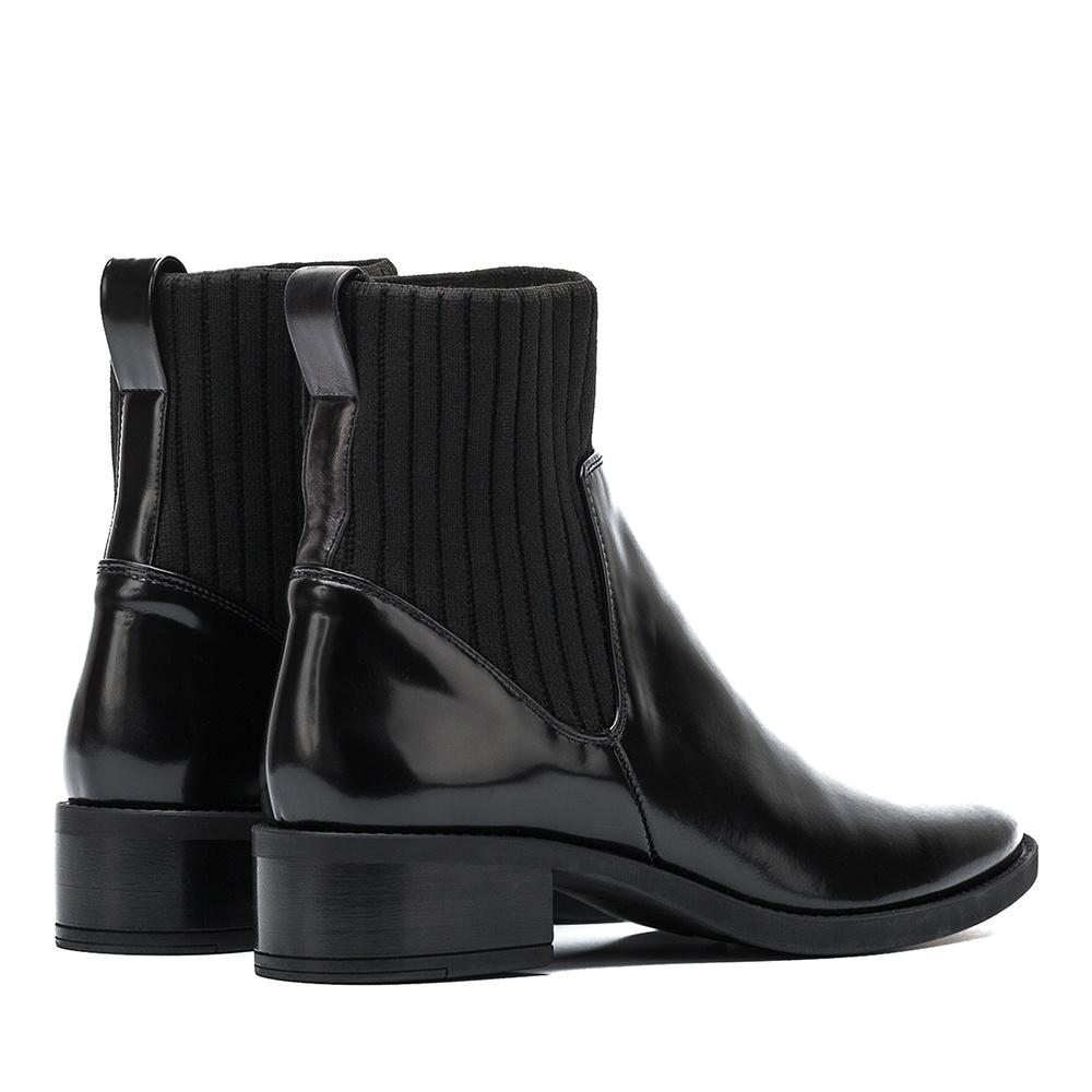 UNISA Elastic sock leather booties ELLEN_SGL black 2