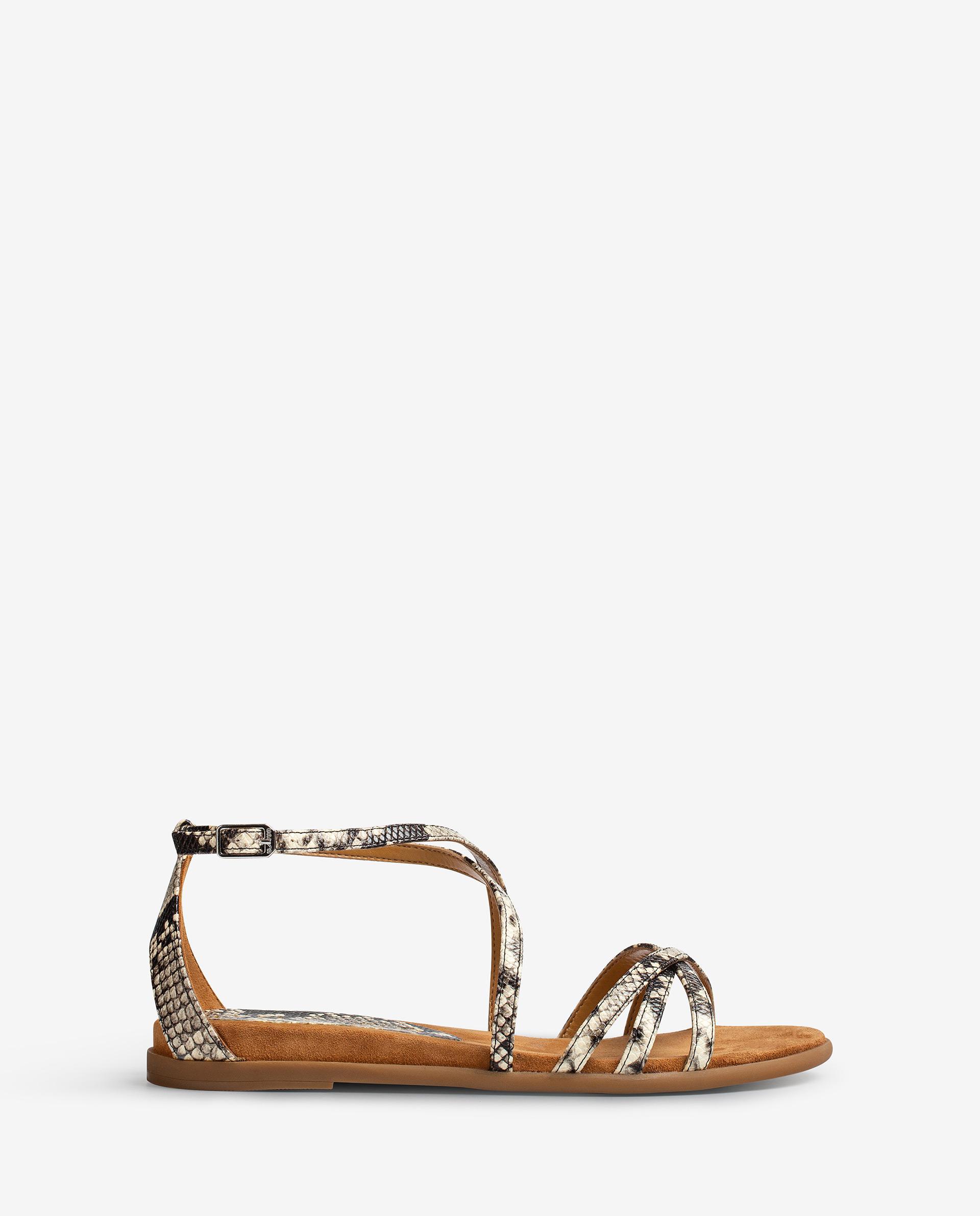 UNISA Snake effect leather flat sandals CARCER_VIP 2