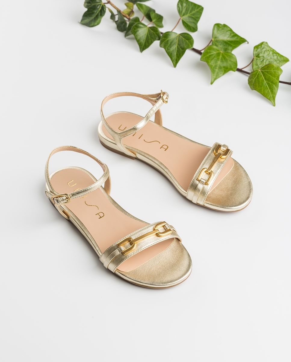 UNISA Flat golden sandals CARITA_LMT platino 2