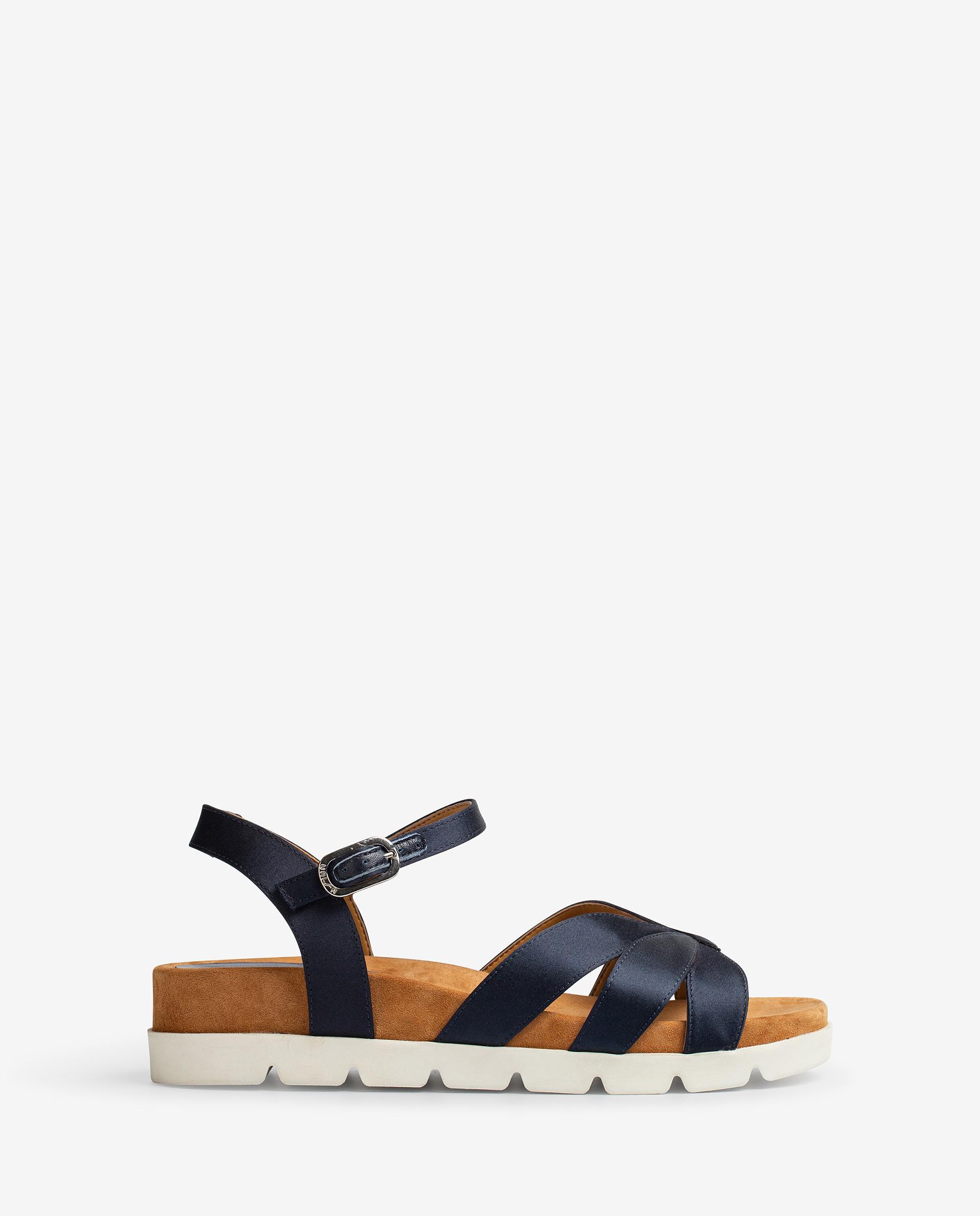 UNISA Flat shiny effect leather sandals, sport soles CEDILLO_RA 2