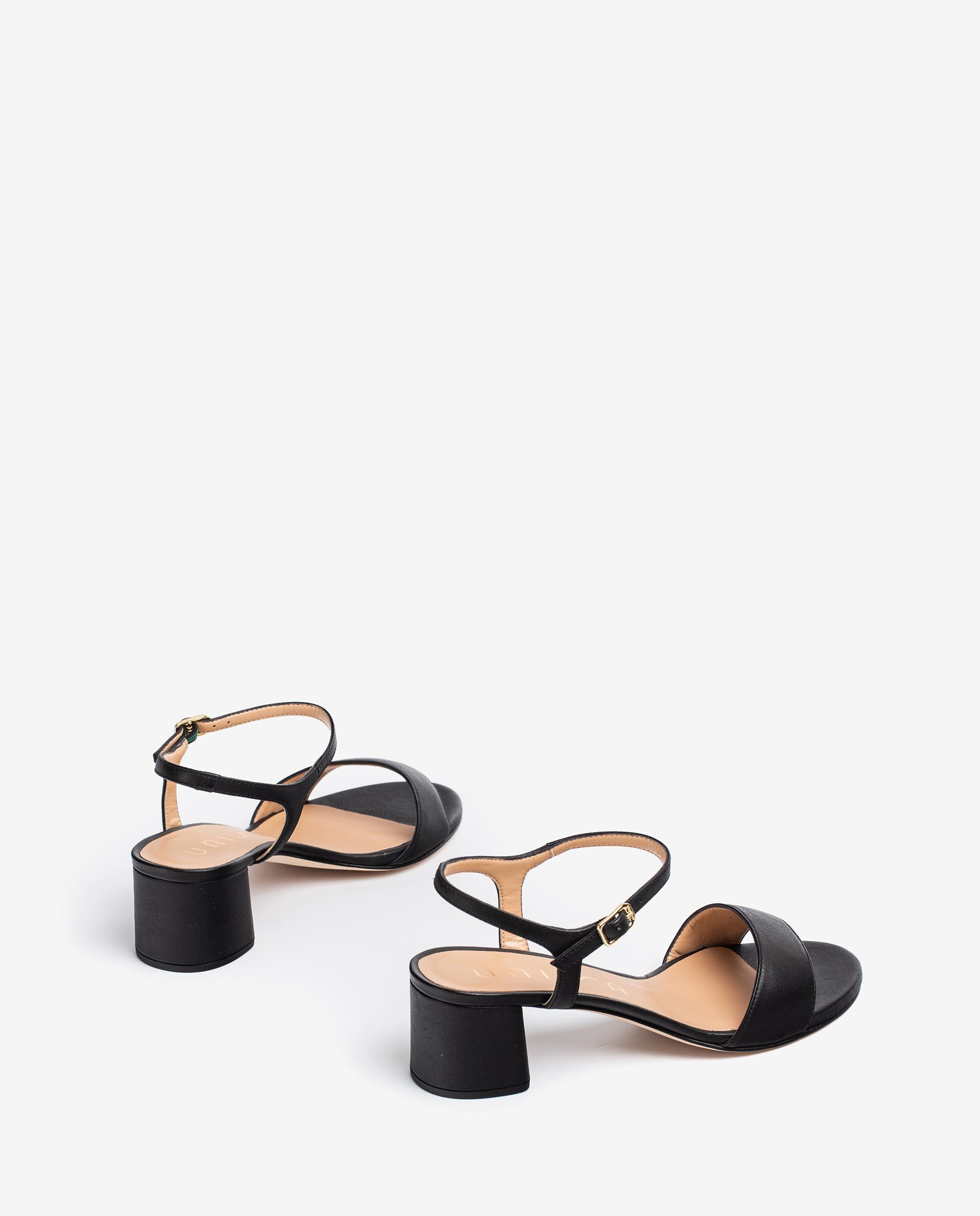 UNISA Leather sandals with wide heel GENTO_21_CRE 2