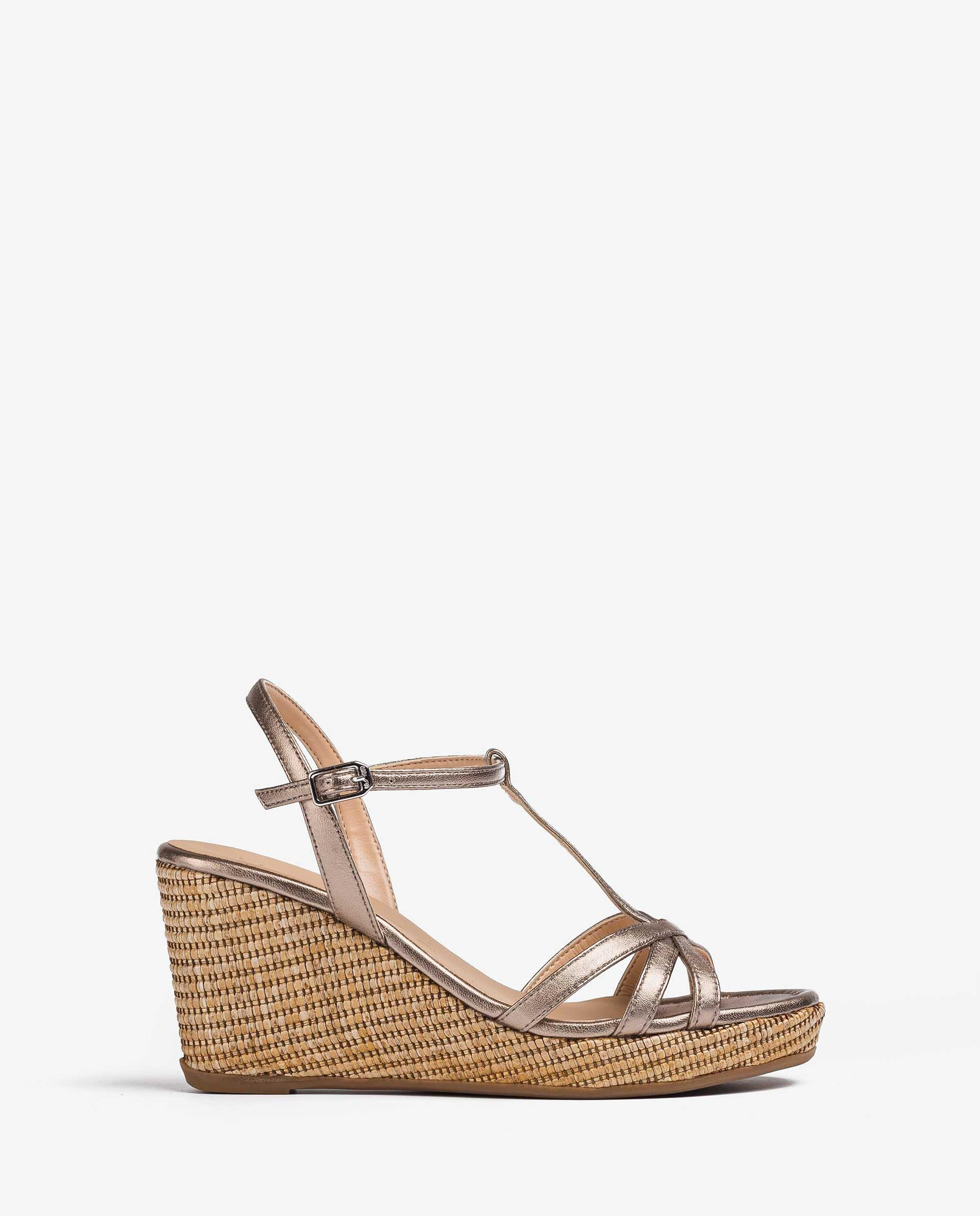 UNISA Metal effect leather T-strap sandals LLINARSIN_21_LMT 2