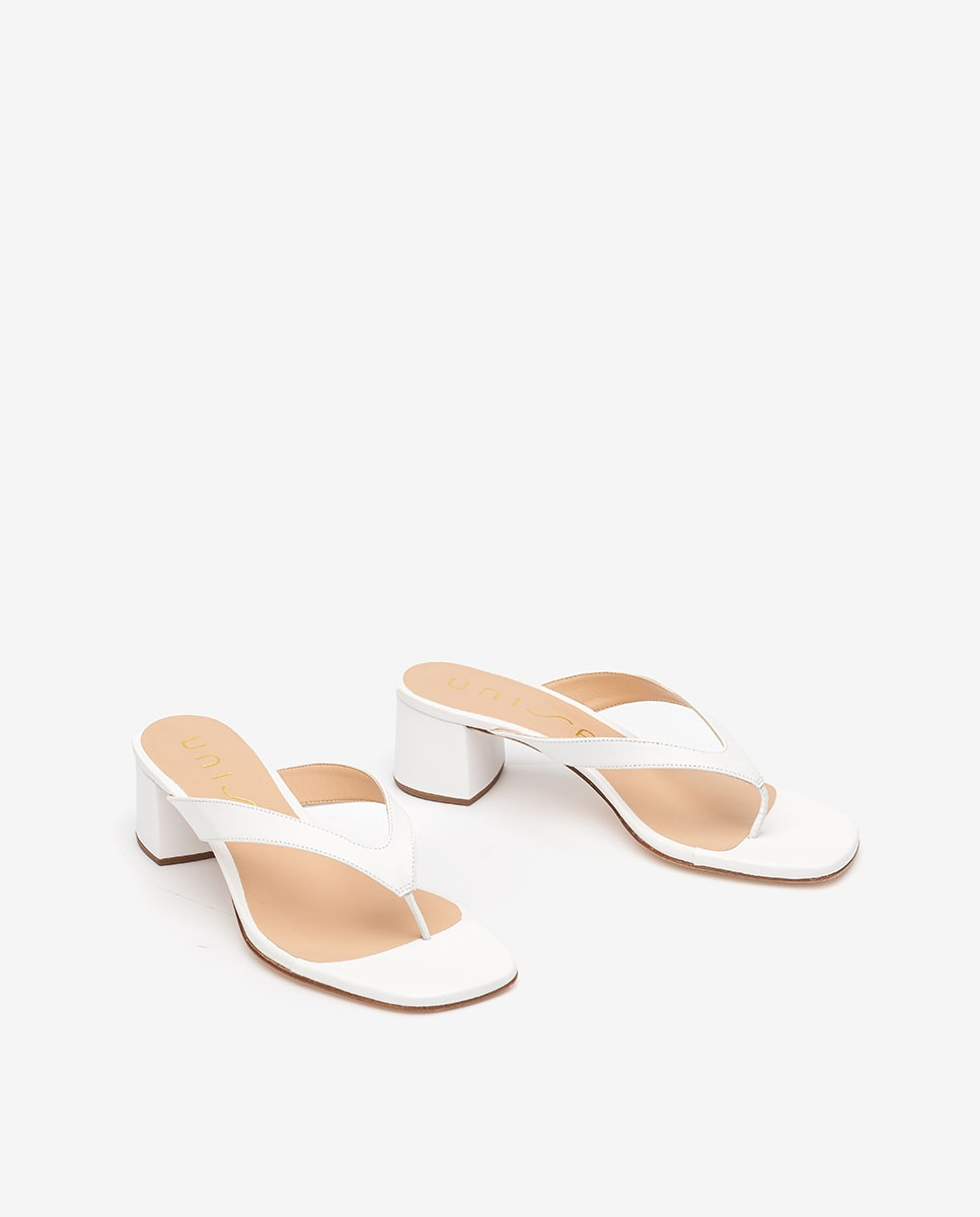 UNISA White heeled thong sandals KOLMA_NA white 2