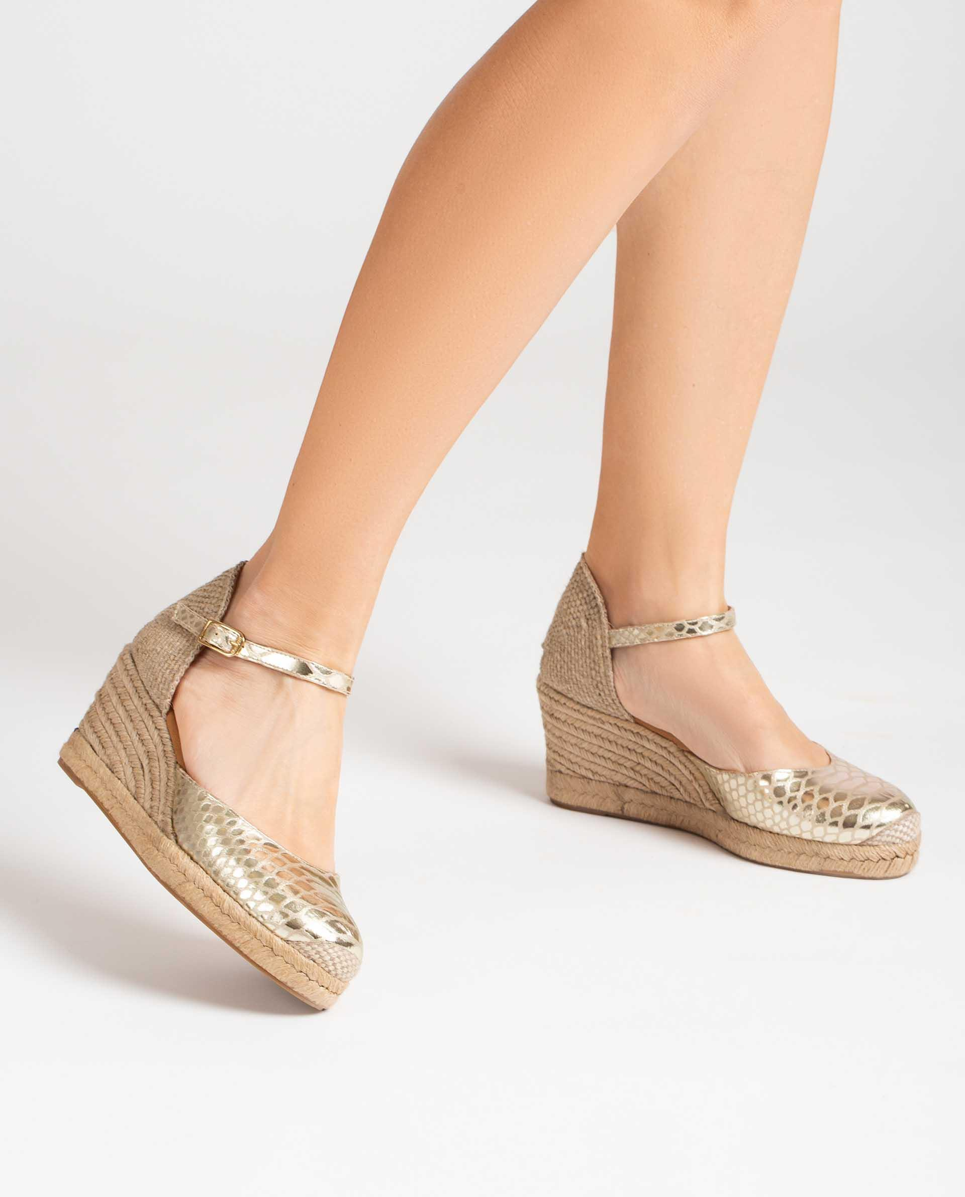 UNISA Metal effect snake print leather espadrilles CACERES_21_SNM 2