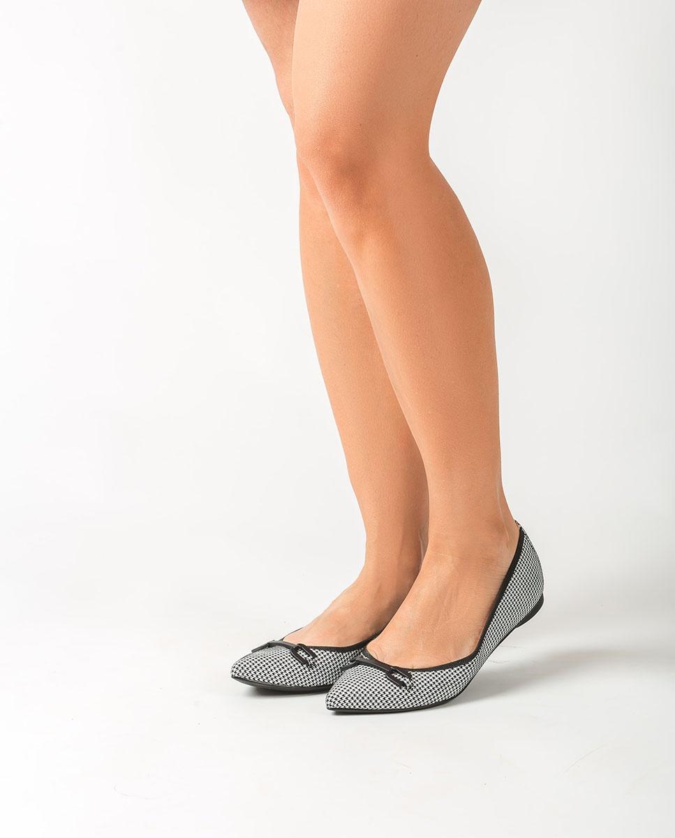 UNISA White pointy toe ballerinas ADONIA_VO white/blk 2