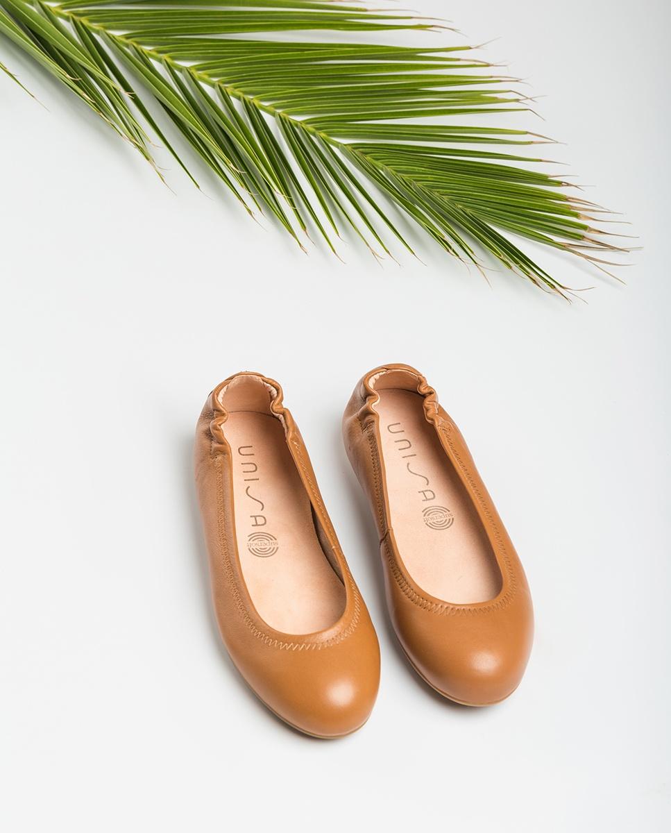 UNISA Brown leather ballerinas ALIMA_NS bisquit 2