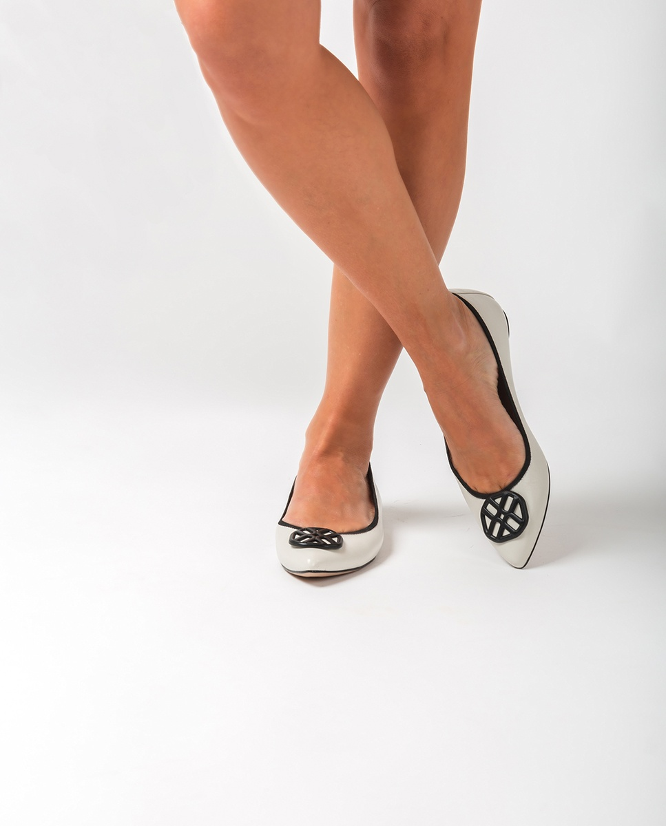 UNISA Leather monogram ballerinas ARCOS_NA ivory/blk 2