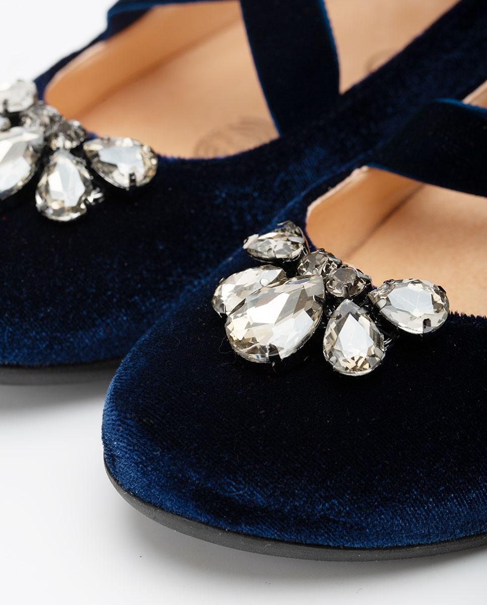 UNISA Little girl´s velvet ballerinas with crystals CALDAS_F20_T_VL azul 2