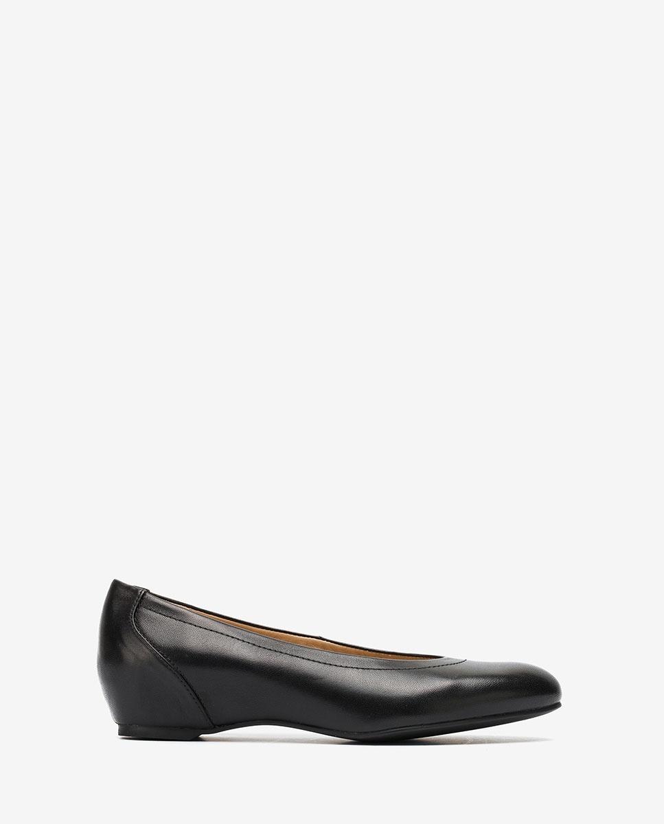UNISA Black leather wedge ballerinas CONESA_F20_NA black 2
